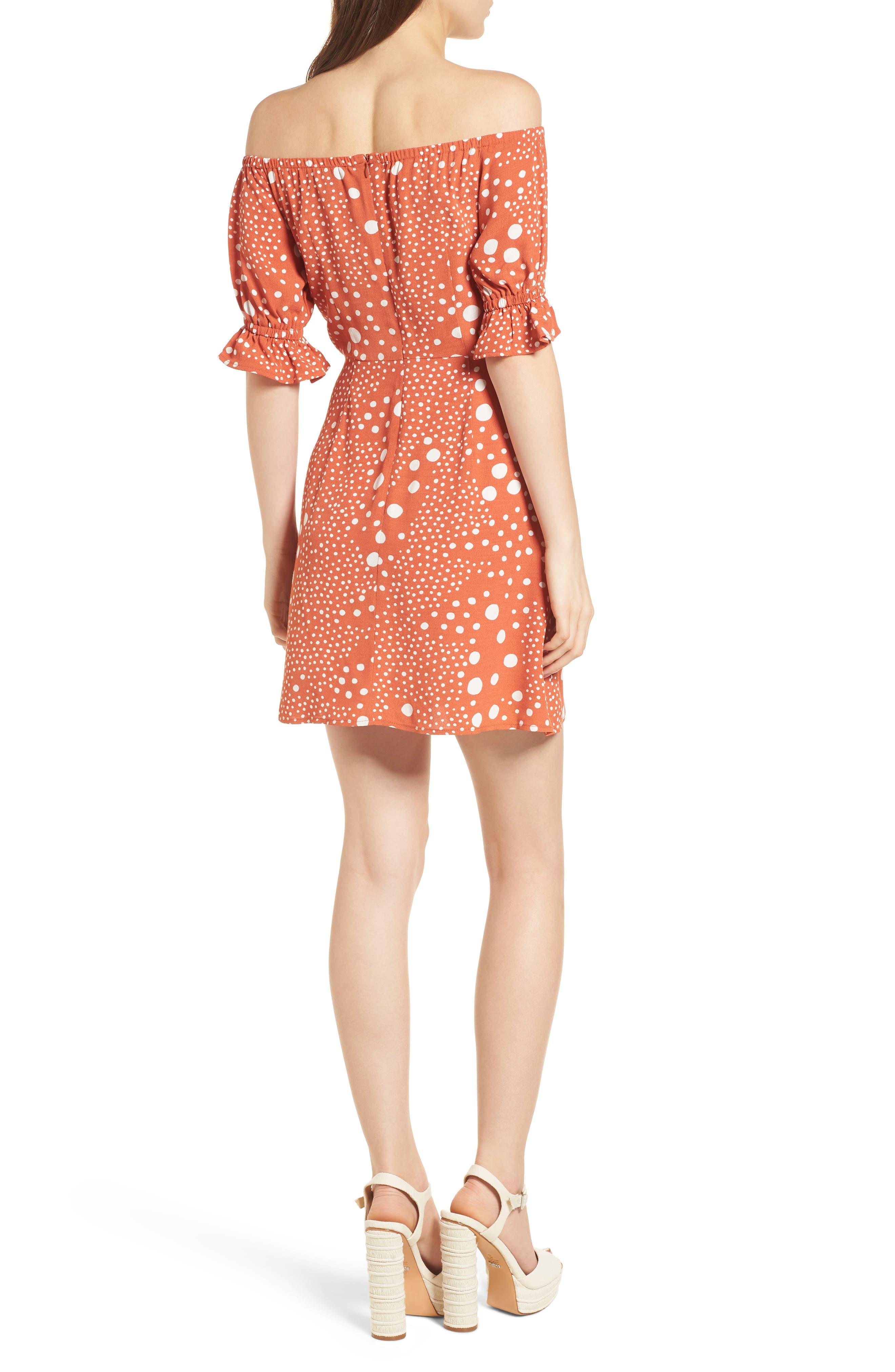 Peppers Polka Dot Off the Shoulder Dress,                             Alternate thumbnail 3, color,                             Rust Pebble