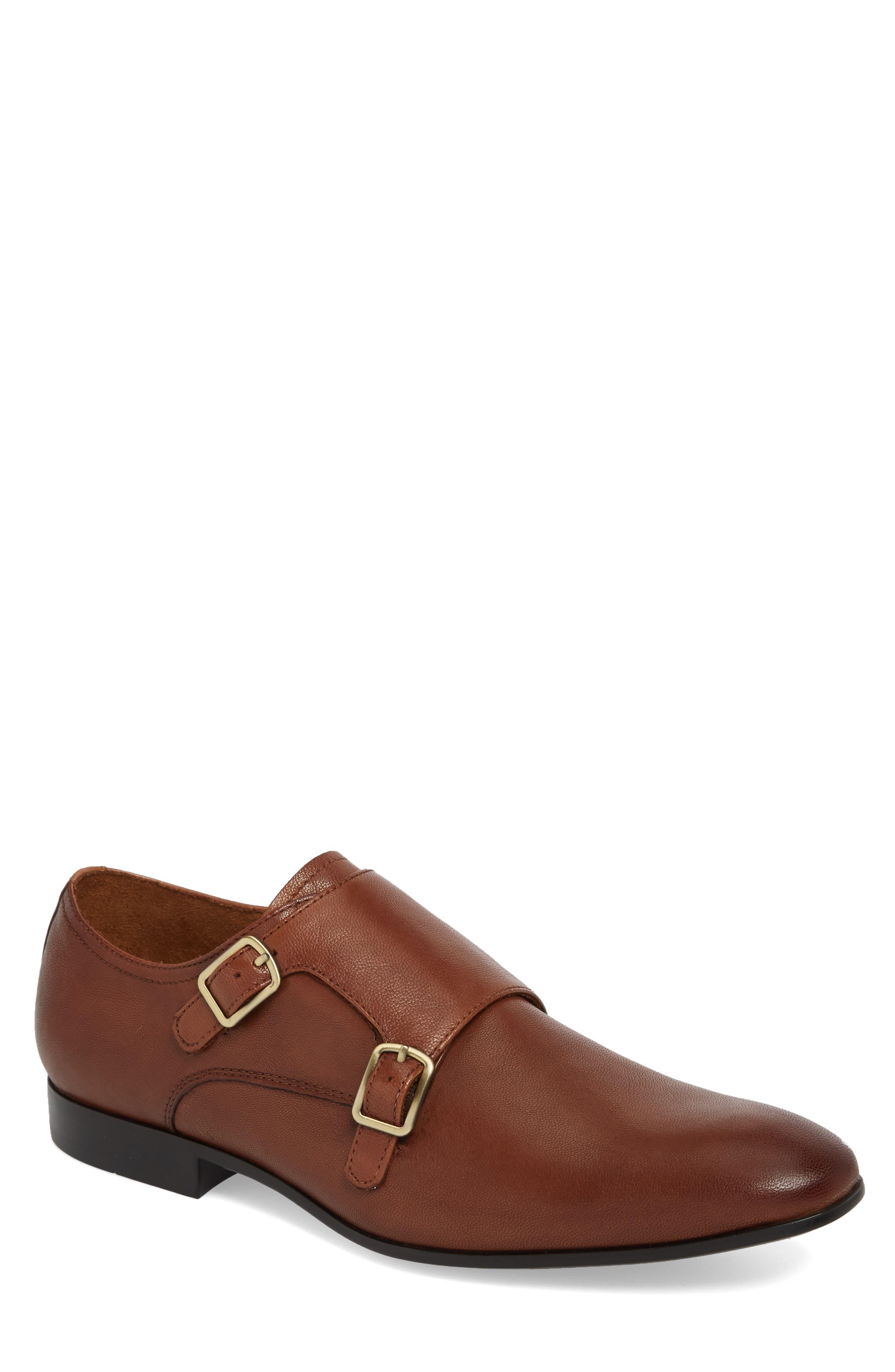 Mix Double Monk Strap Shoe,                             Main thumbnail 1, color,                             Cognac Leather