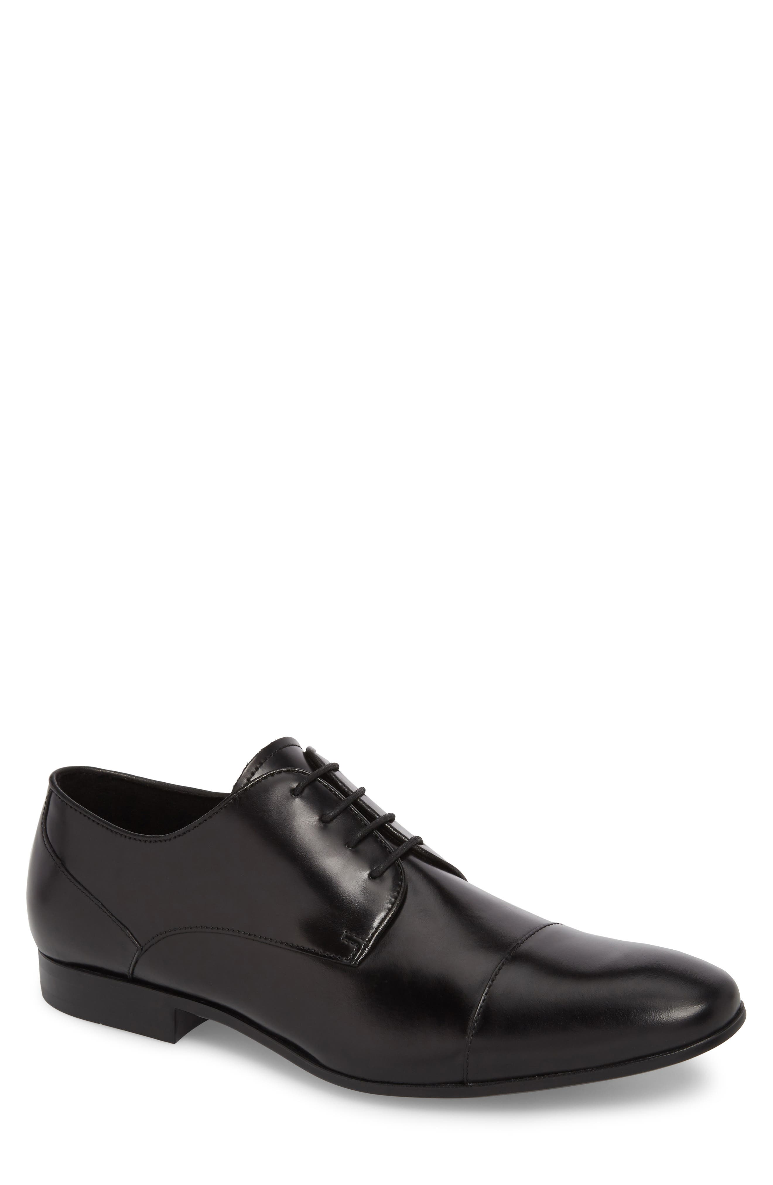Cap Toe Oxford,                         Main,                         color, Black Leather