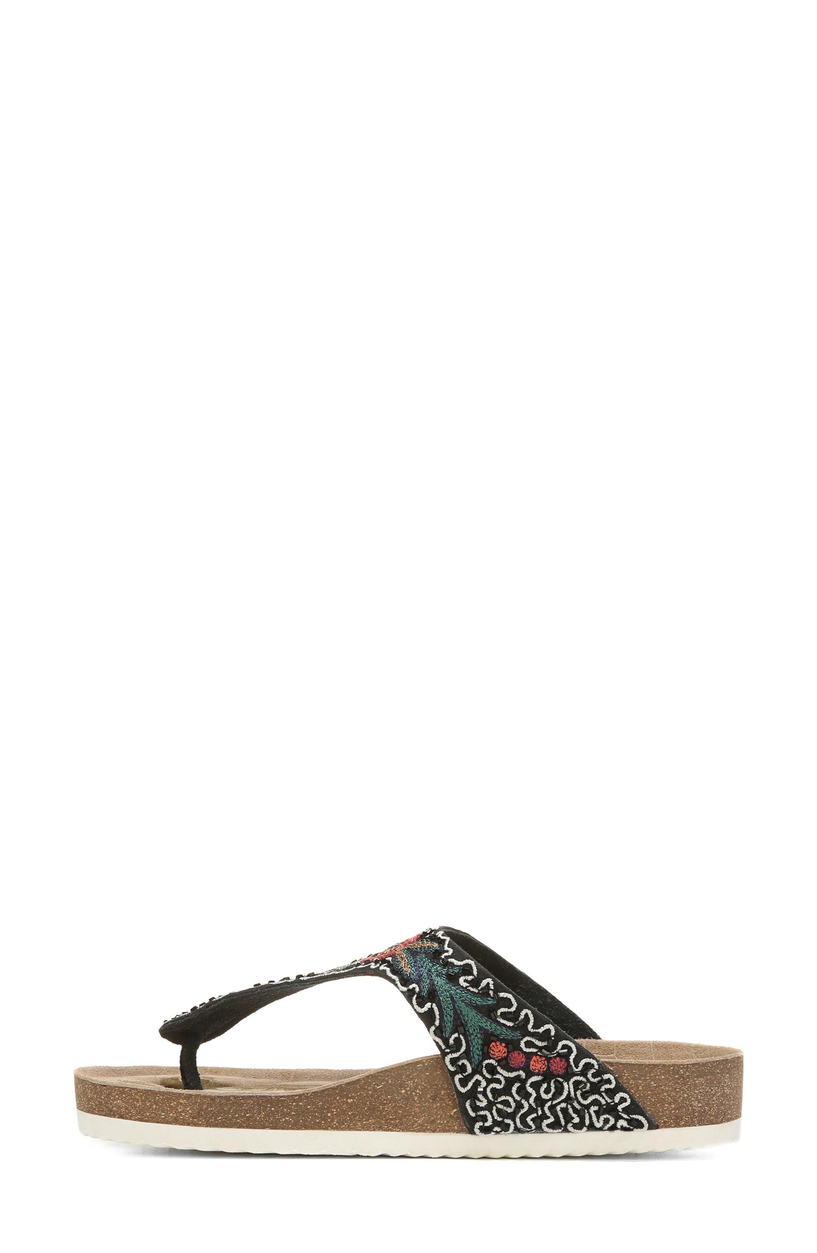 Olivie Beaded Flip Flop,                             Alternate thumbnail 3, color,                             Black Multi