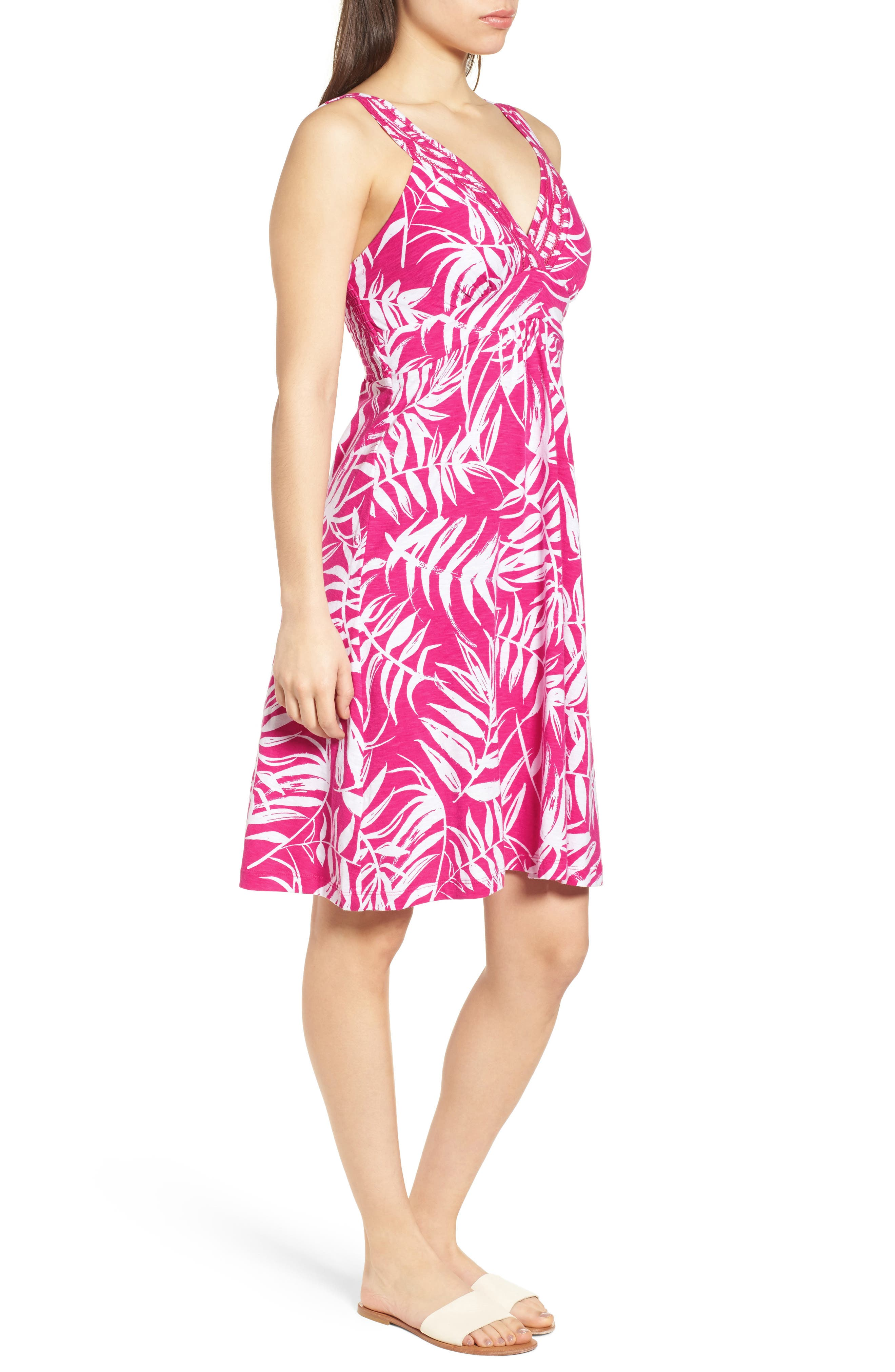 Fronds with Benefits Dress,                             Alternate thumbnail 3, color,                             Bright Blush