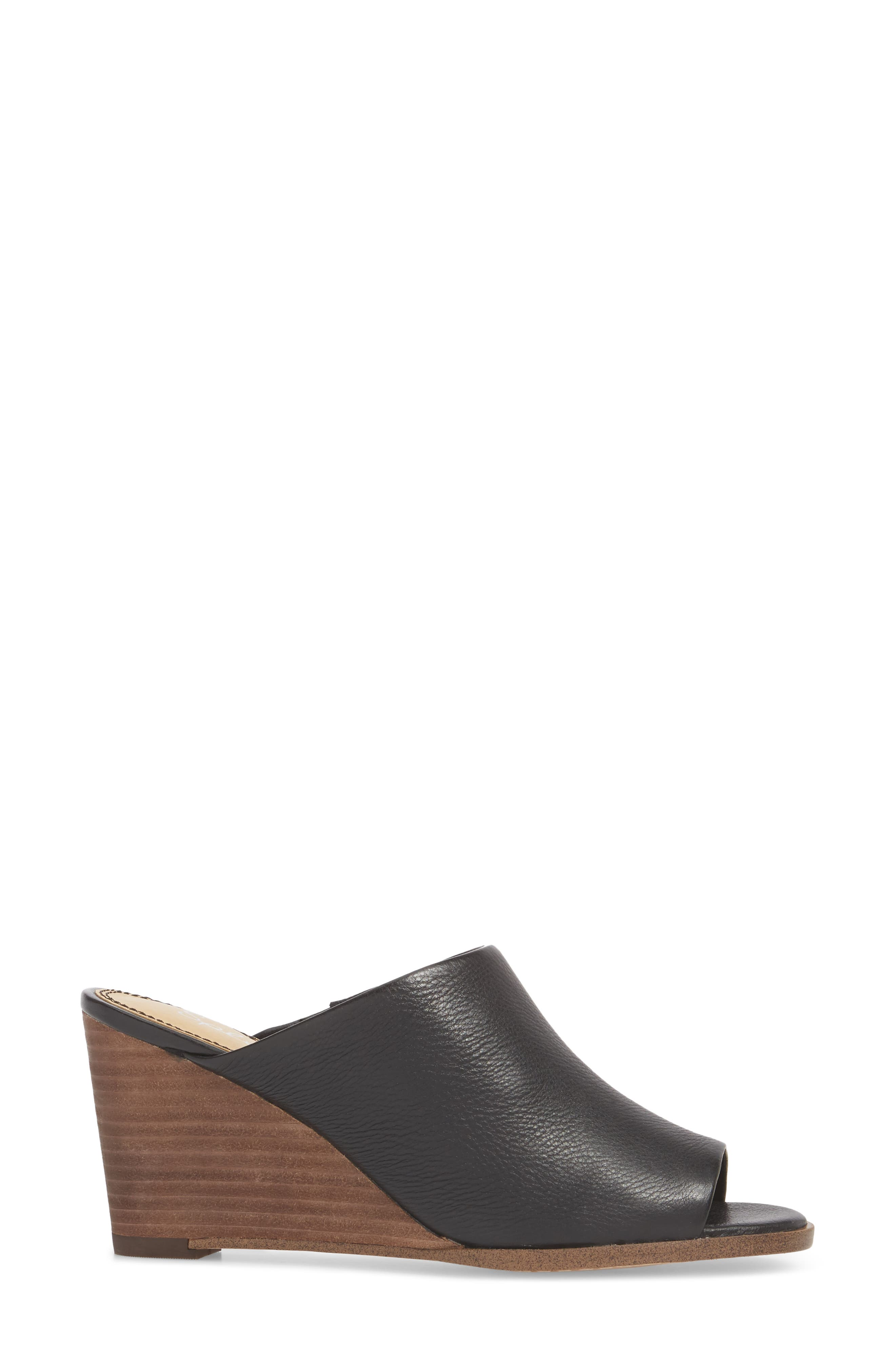 Fenwick Wedge Sandal,                             Alternate thumbnail 3, color,                             Black Leather