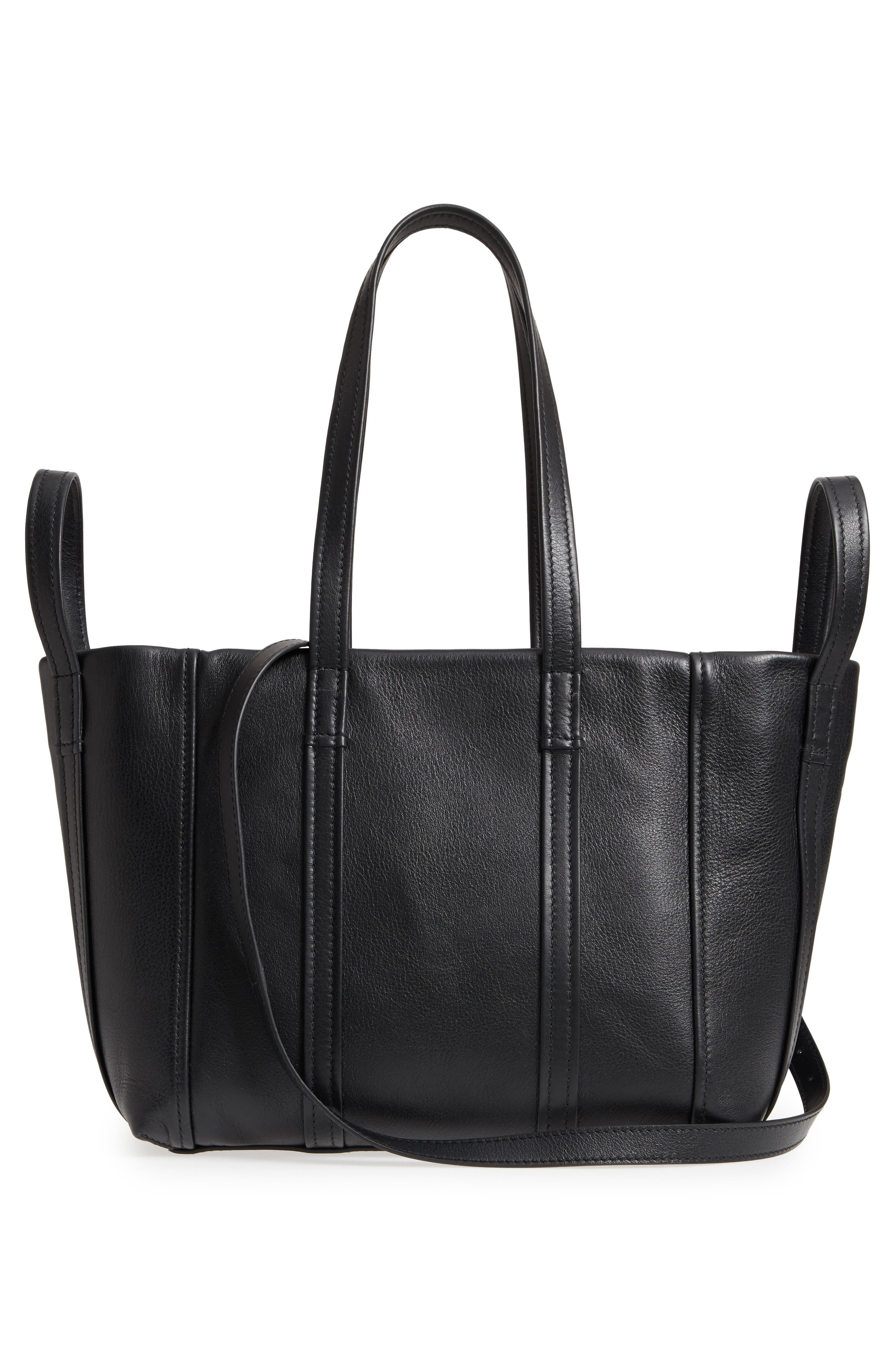 Small Laundry Calfskin Tote,                             Alternate thumbnail 3, color,                             Noir