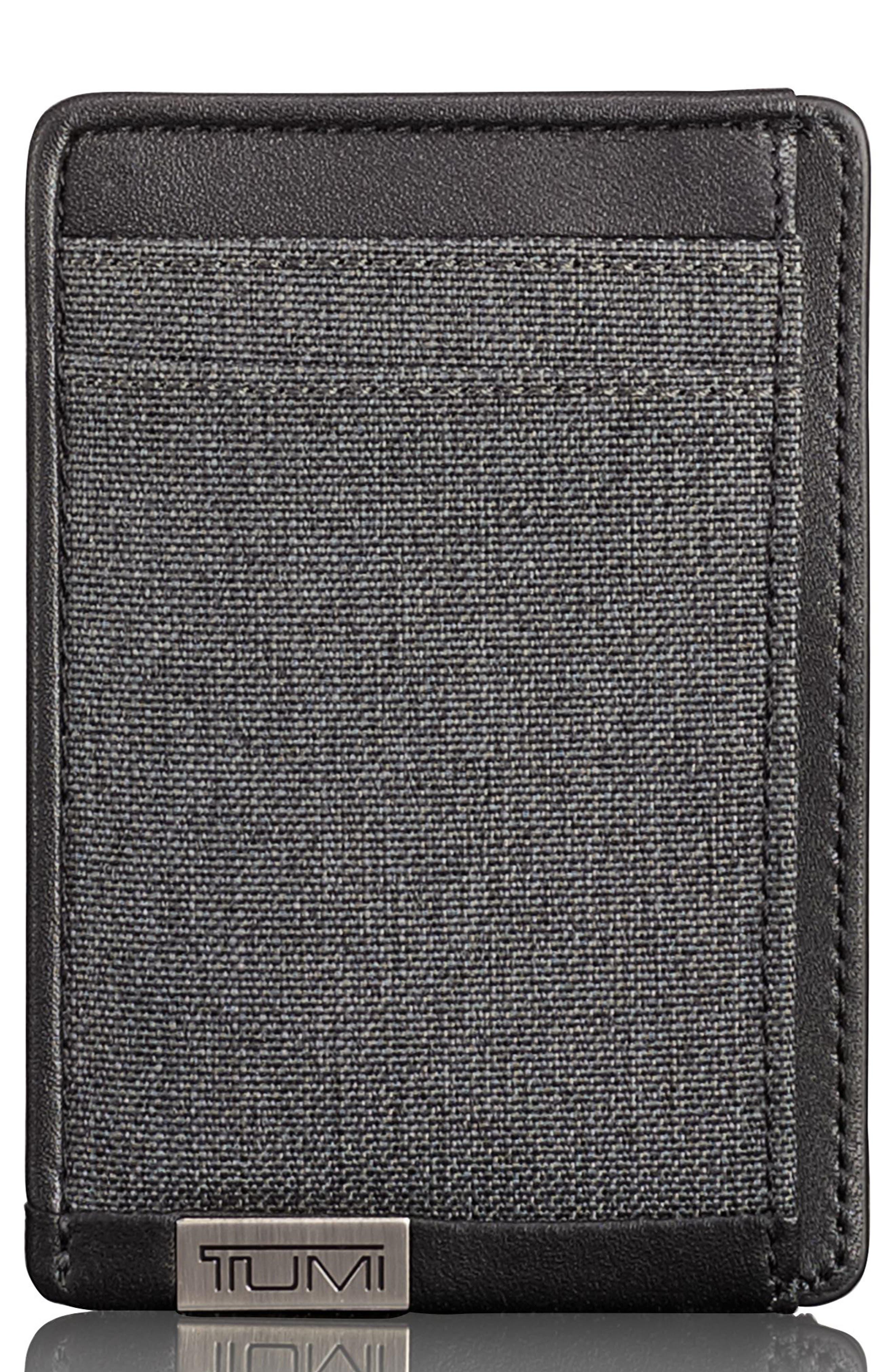 Alpha Money Clip Card Case,                             Main thumbnail 1, color,                             Anthracite/ Black
