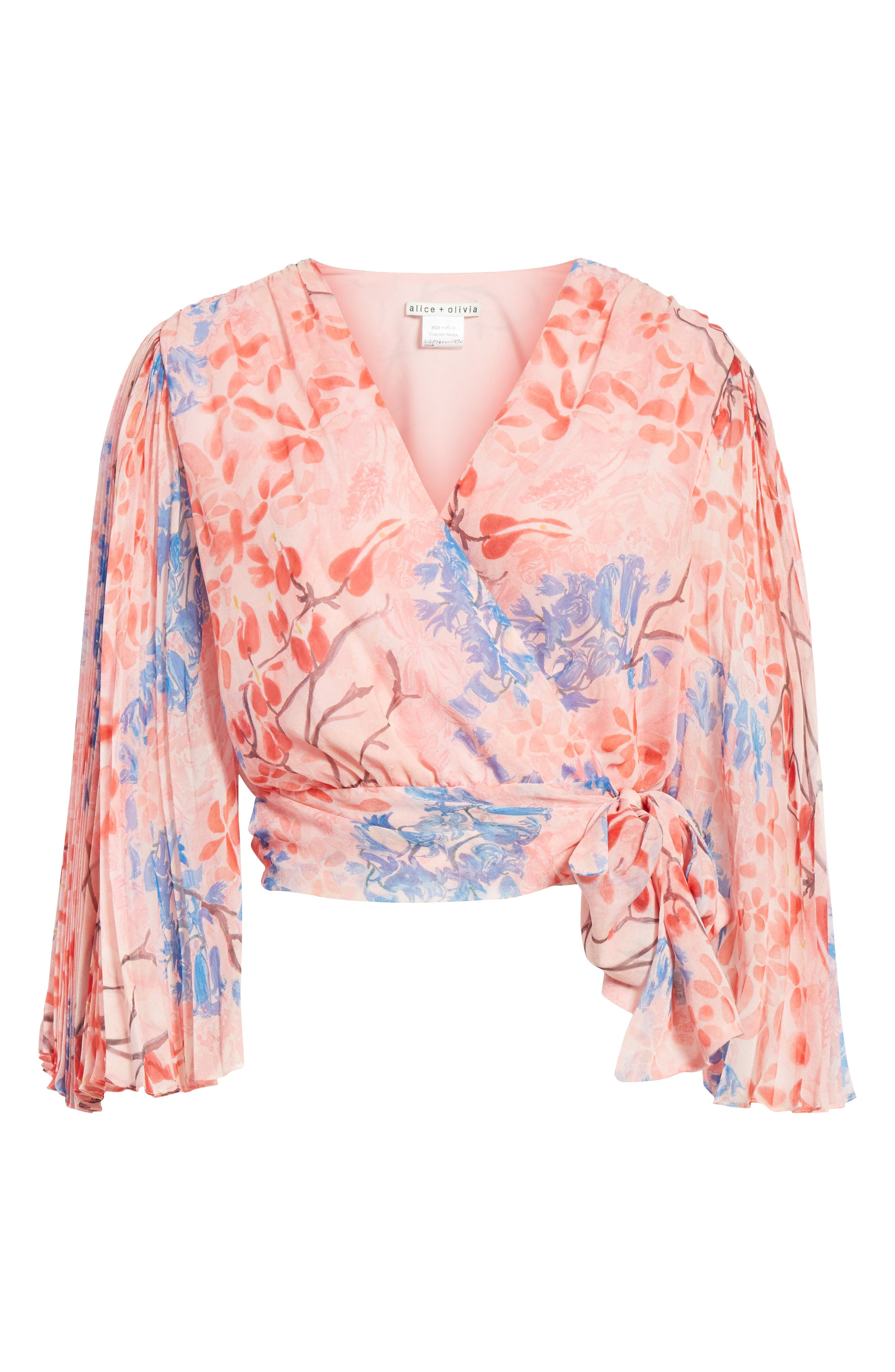 Pleat Sleeve Silk Wrap Top,                             Alternate thumbnail 6, color,                             Lola Floral