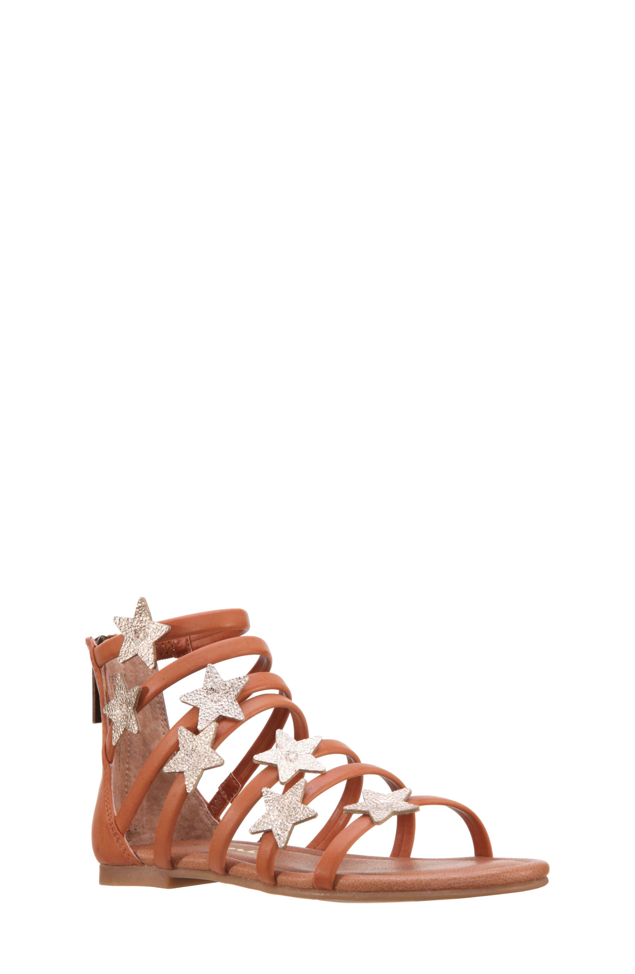 Robertha Gladiator Sandal,                             Main thumbnail 1, color,                             Tan Smooth/ Gold Metallic
