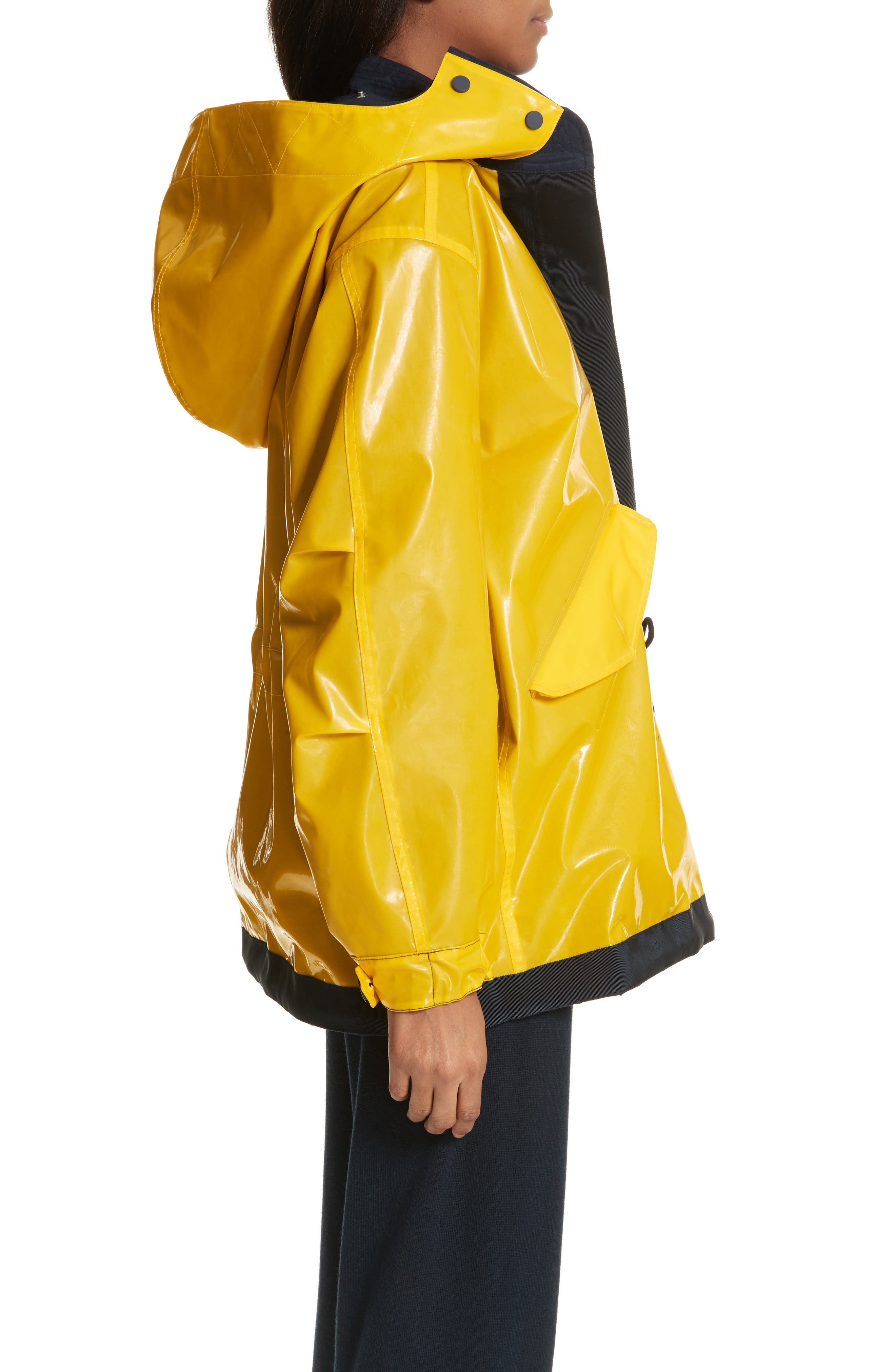 Reversible Rain Jacket,                             Alternate thumbnail 5, color,                             Tory Navy/ Cyber Yellow