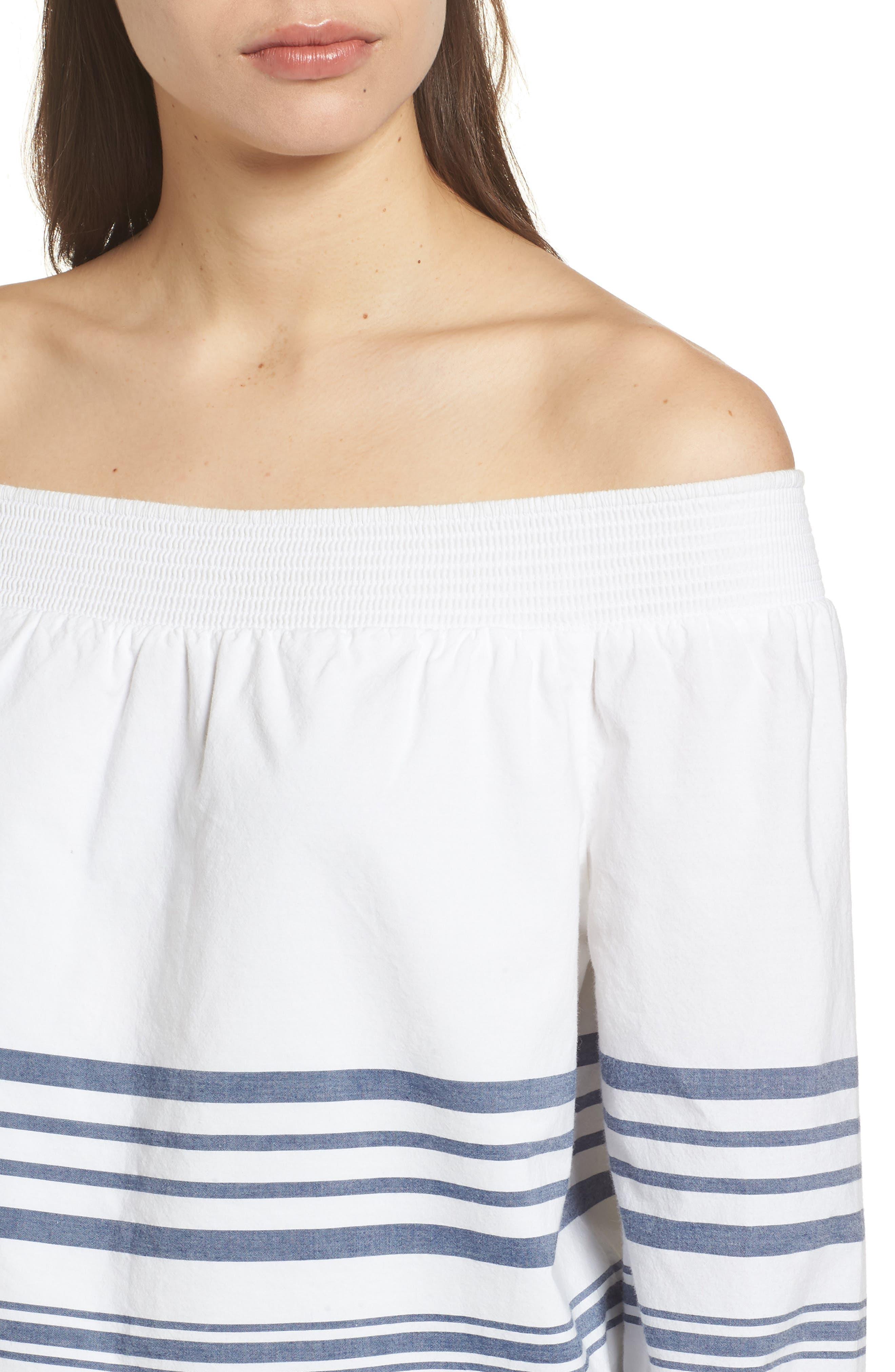 Breaker Stripe Off the Shoulder Cotton Top,                             Alternate thumbnail 4, color,                             White Cap