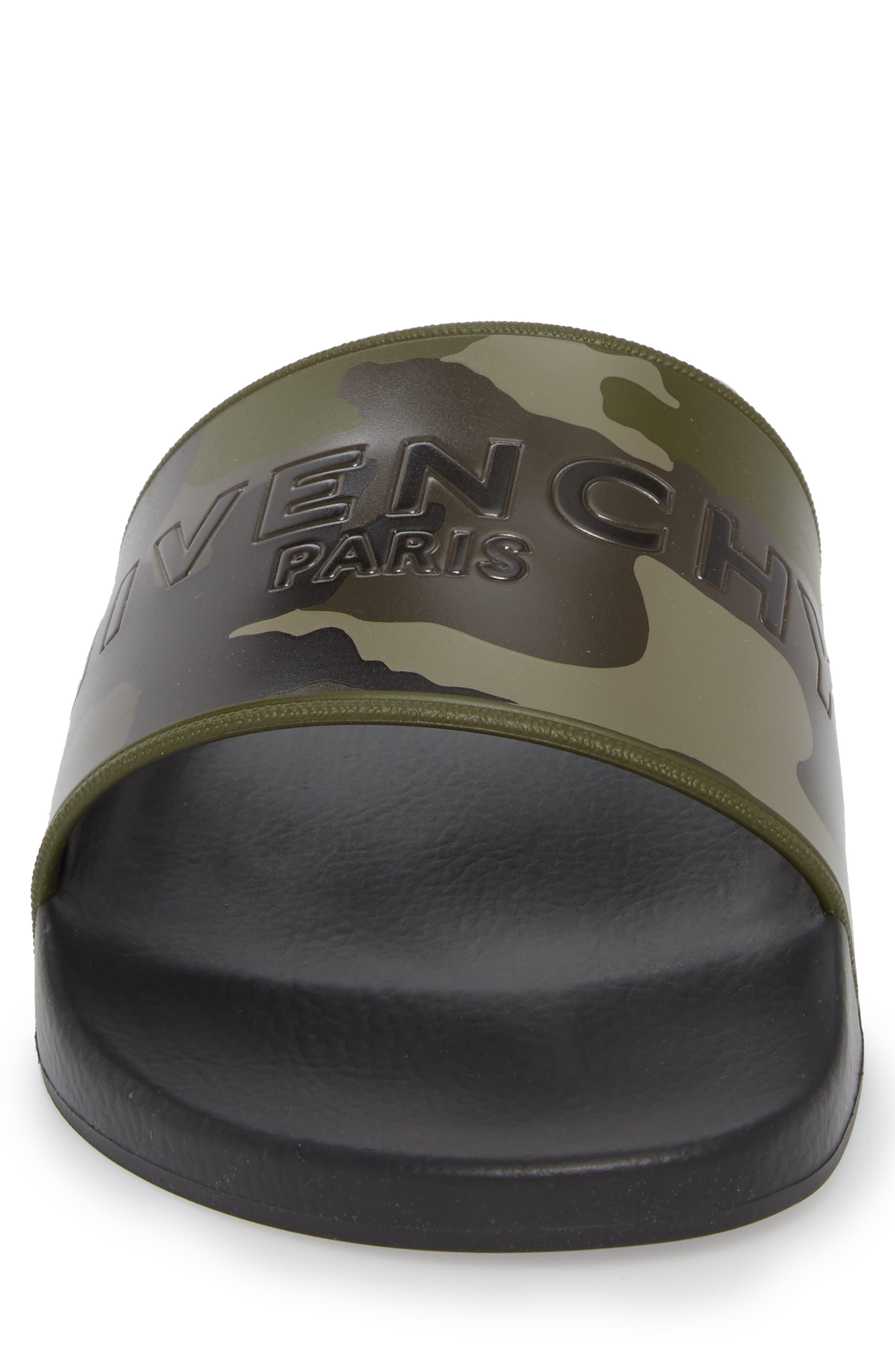Camo Logo Pool Sandal,                             Alternate thumbnail 4, color,                             Black/ Khaki