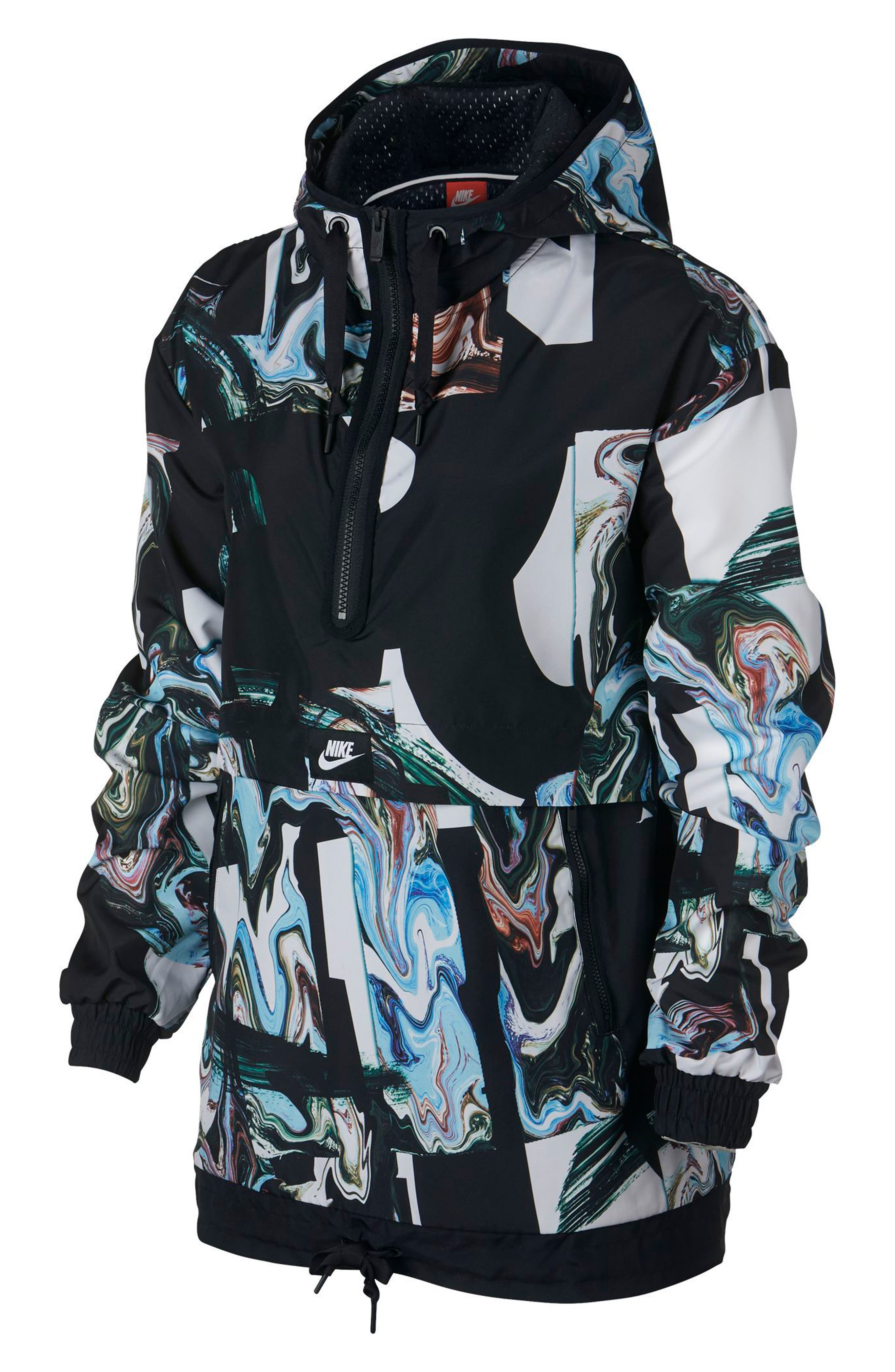 Sportswear Women's Marble Print Hooded Jacket,                         Main,                         color, Black/ Black