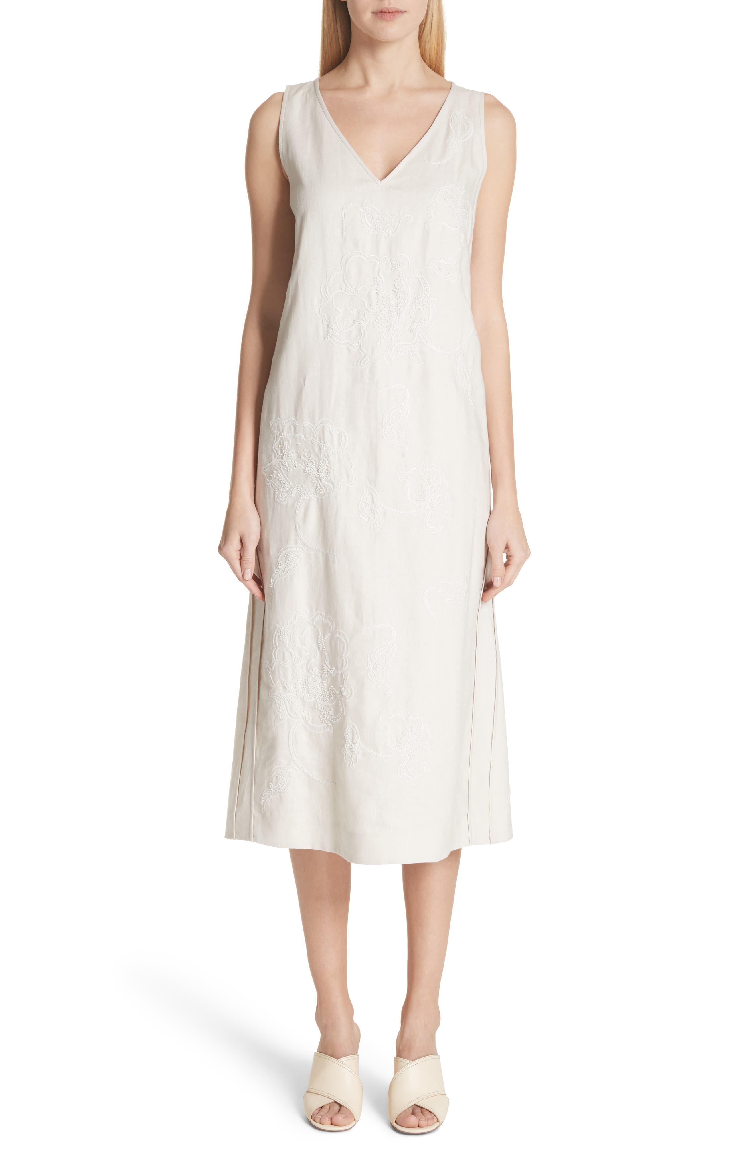 Duncan Embroidered Linen Dress,                             Main thumbnail 1, color,                             Raffia