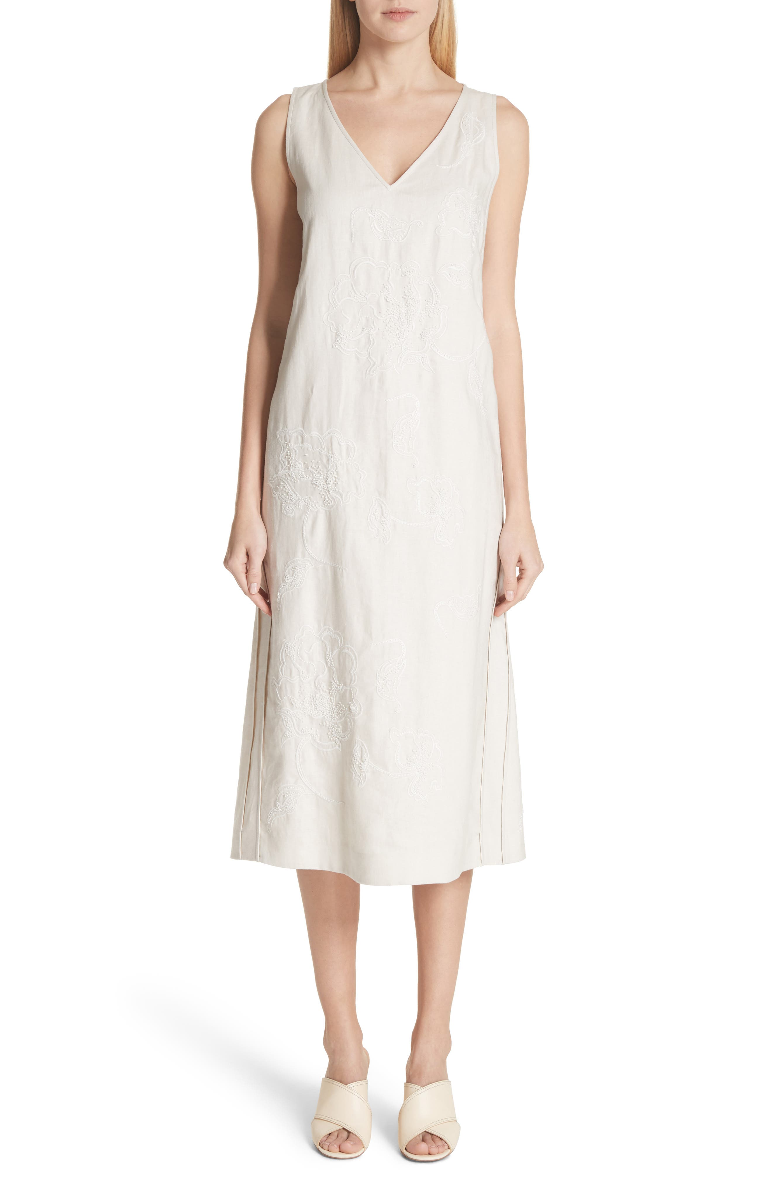 Duncan Embroidered Linen Dress,                         Main,                         color, Raffia