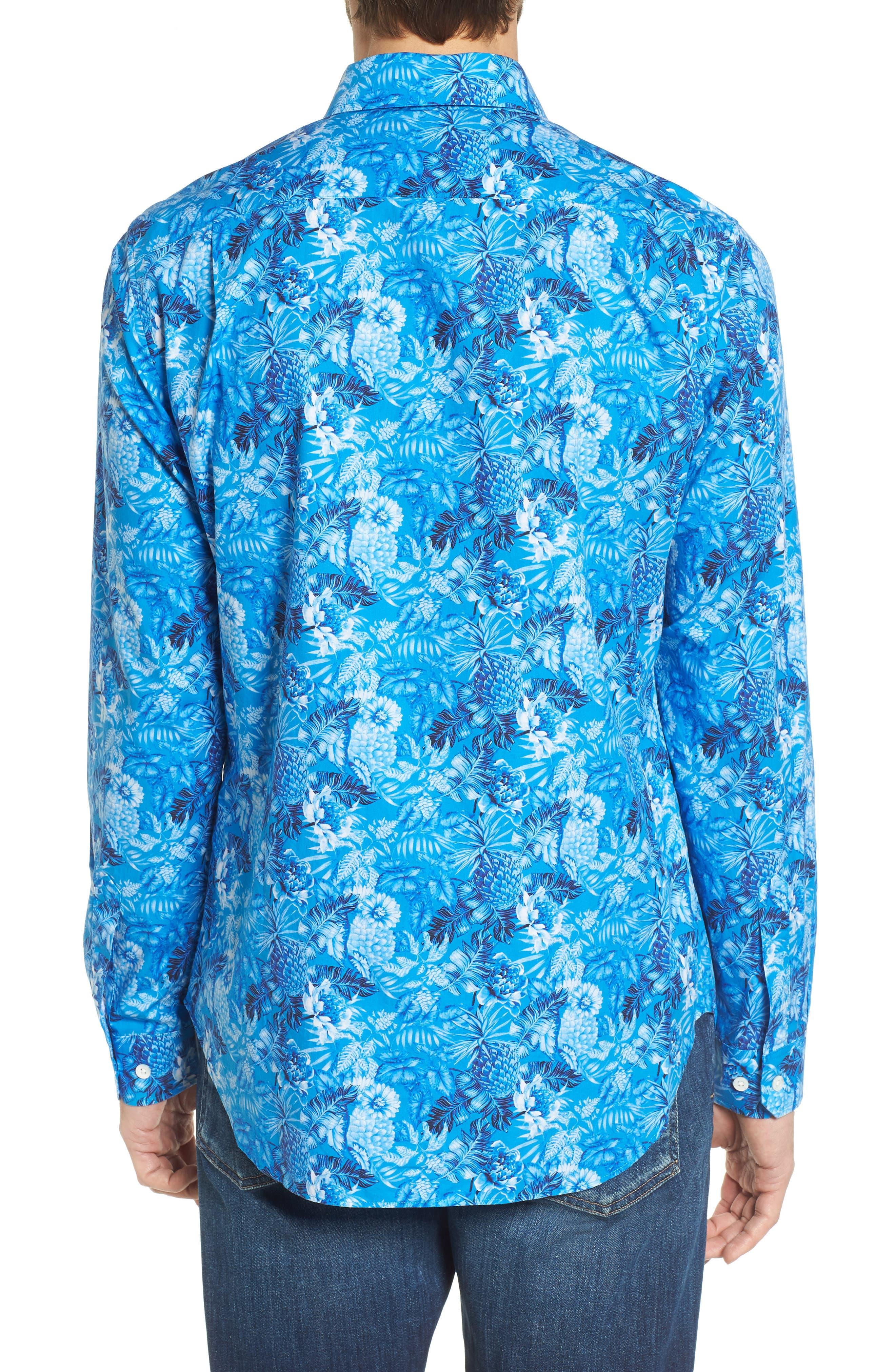 Premium Slim Fit Print Sport Shirt,                             Alternate thumbnail 3, color,                             Blue Floral