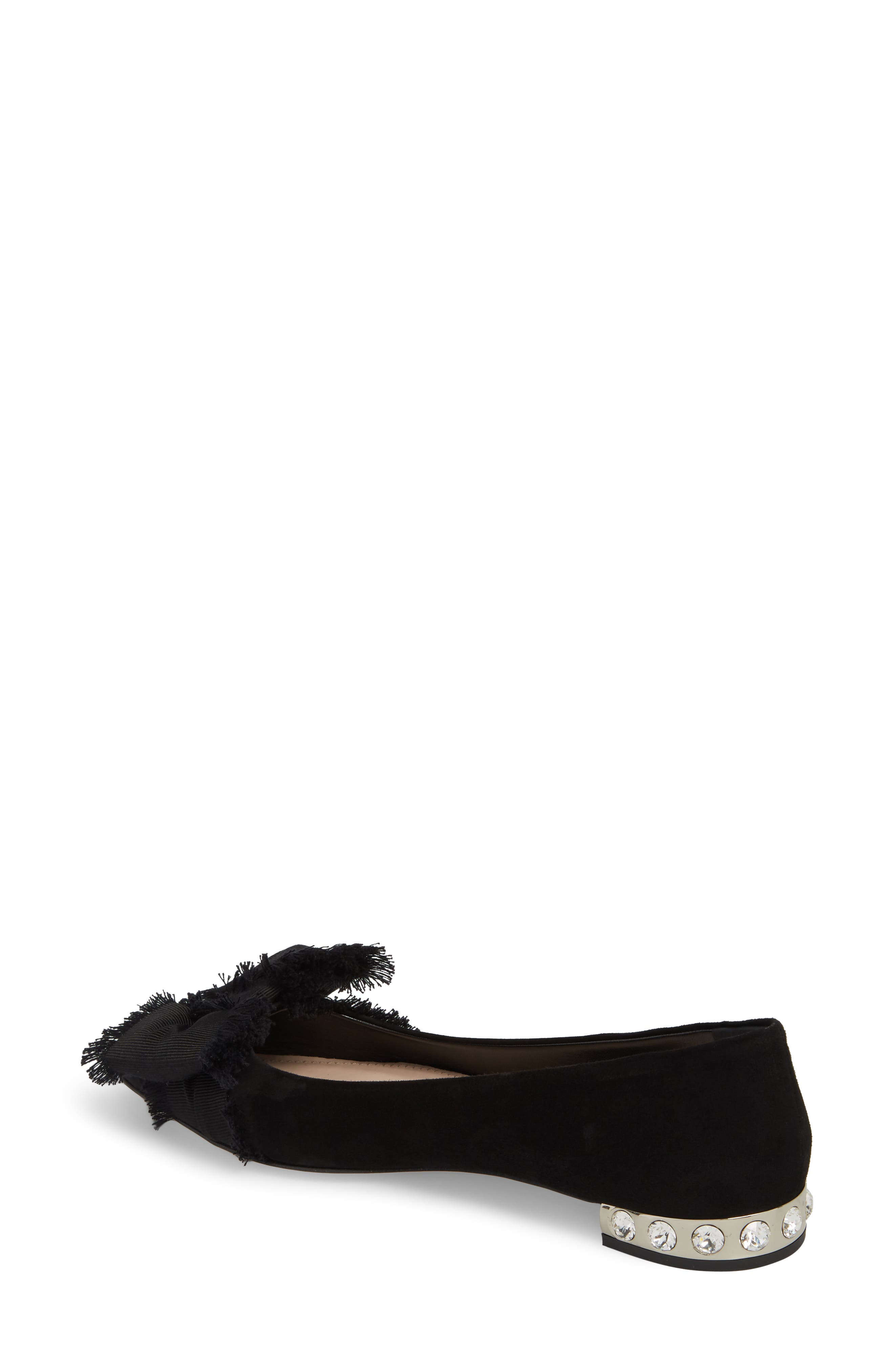 Embellished Heel Bow Flat,                             Alternate thumbnail 2, color,                             Black