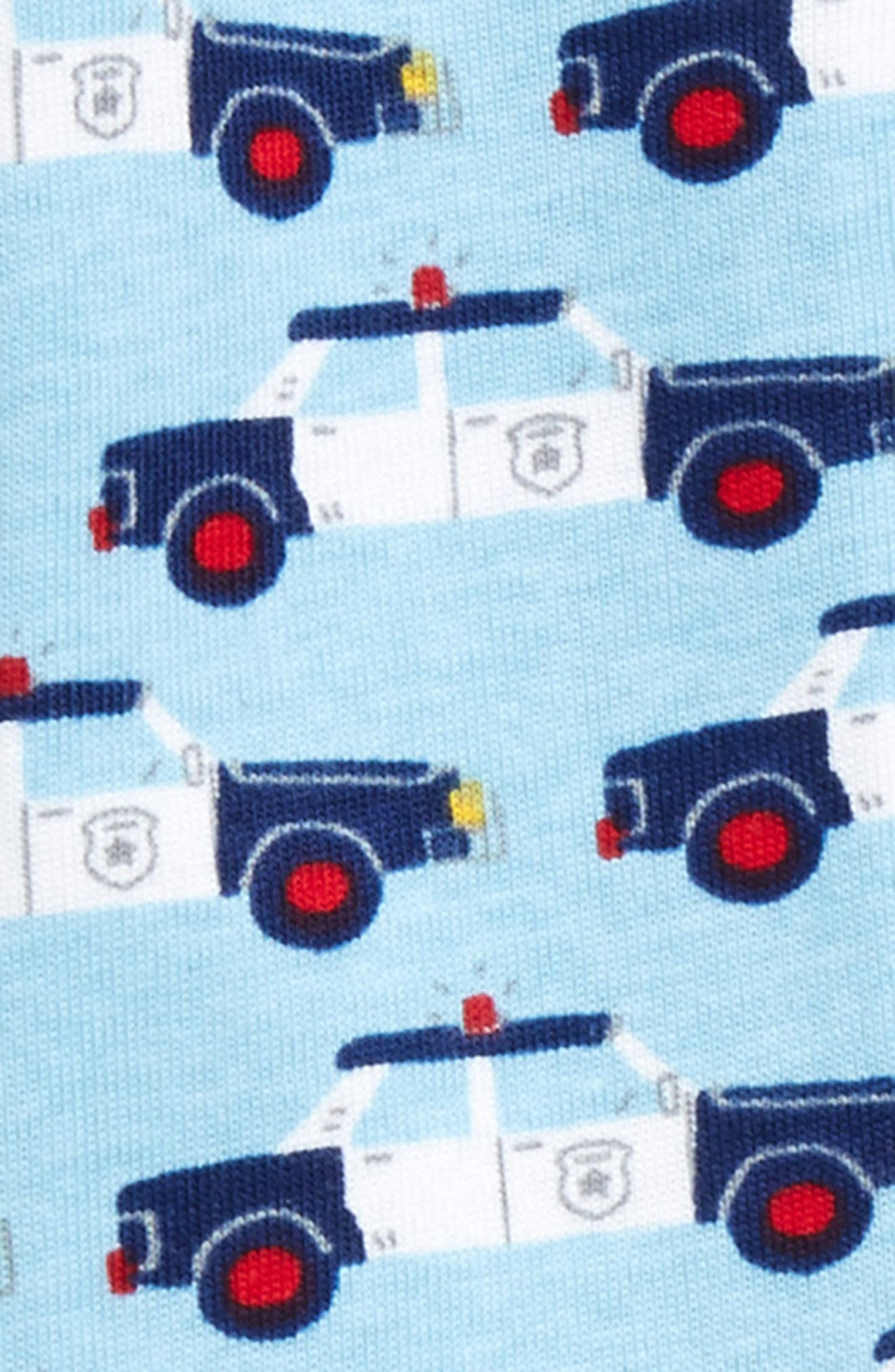 Cop Cars Organic Cotton Fitted One-Piece Pajamas,                             Alternate thumbnail 2, color,                             Cop Cars