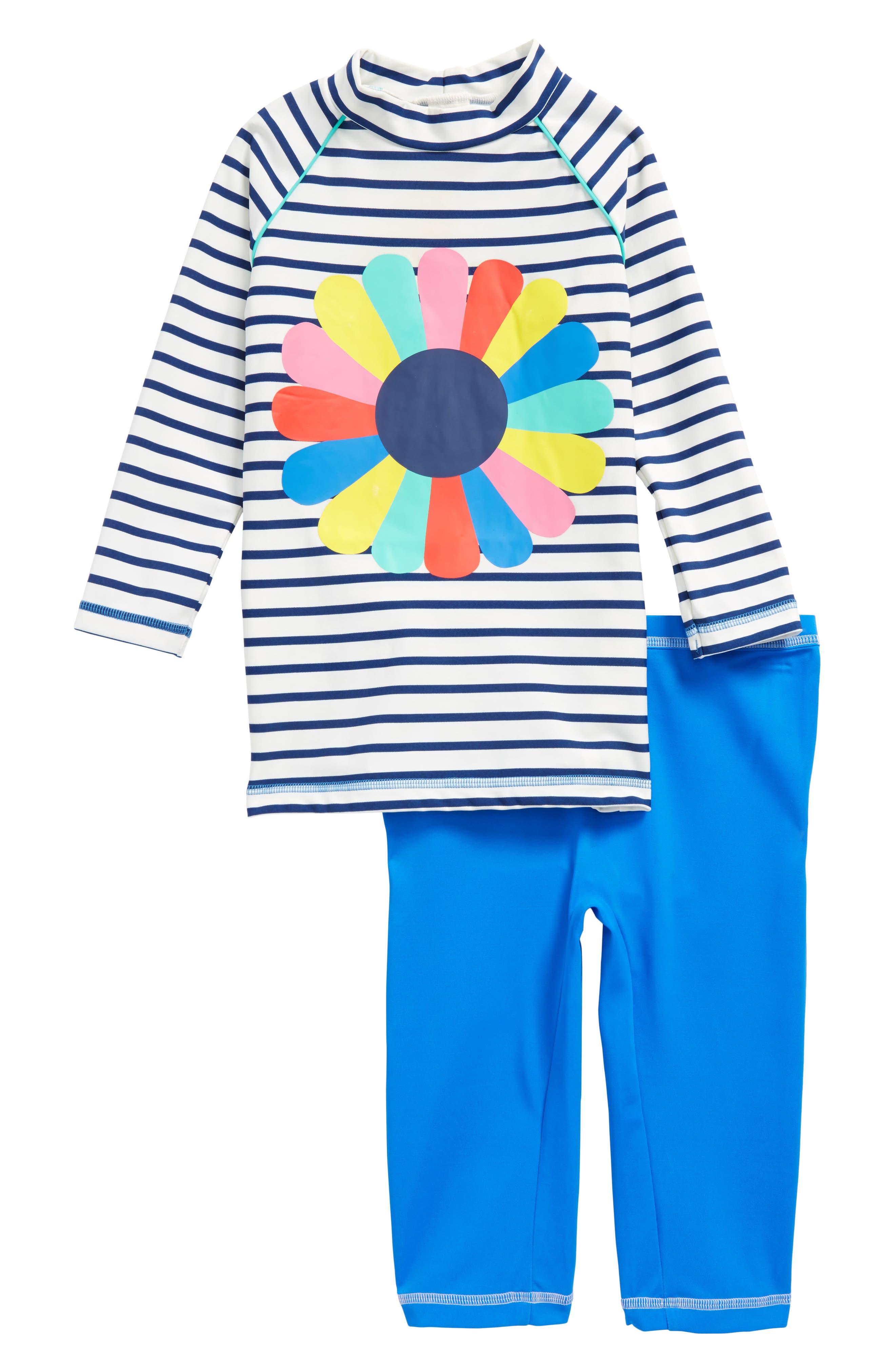 Sea Explorer Two-Piece Rashguard Swimsuit,                             Main thumbnail 1, color,                             Ivory/ Deep Sea Blue/ Flower