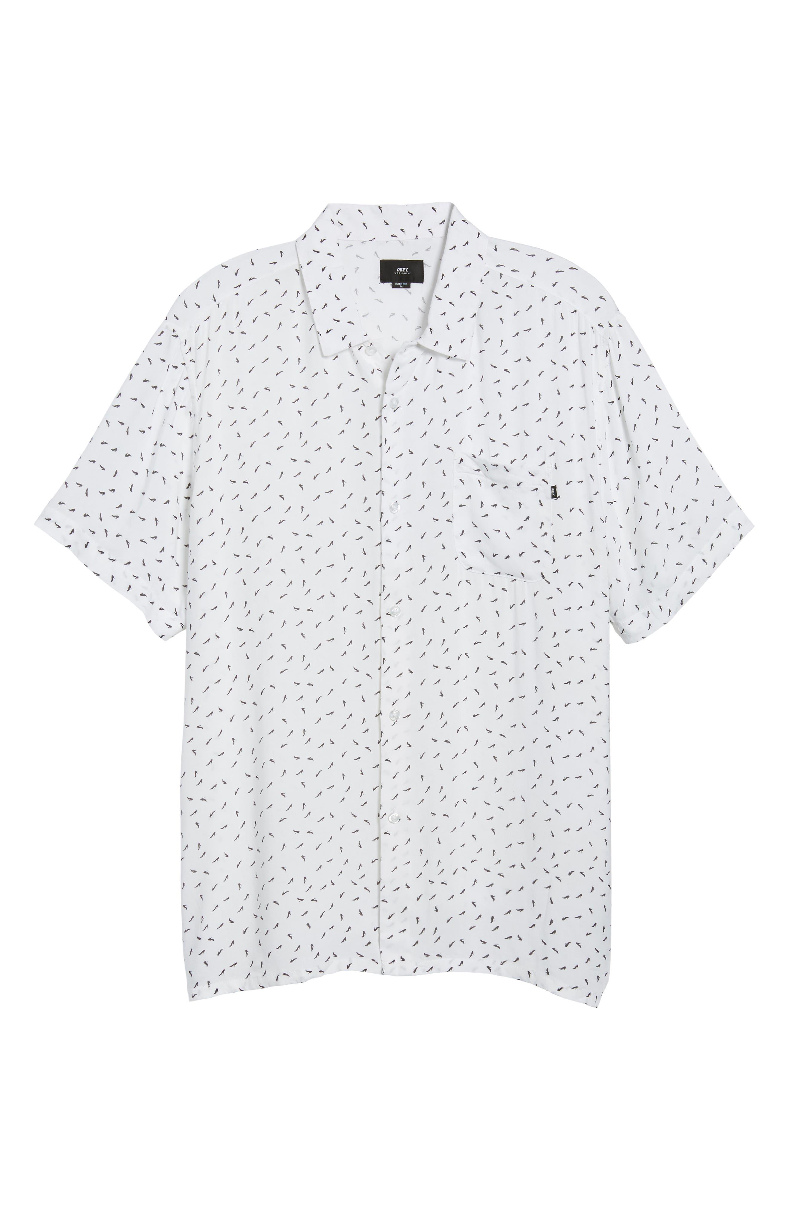 Pumps Short Sleeve Shirt,                             Alternate thumbnail 6, color,                             White Multi