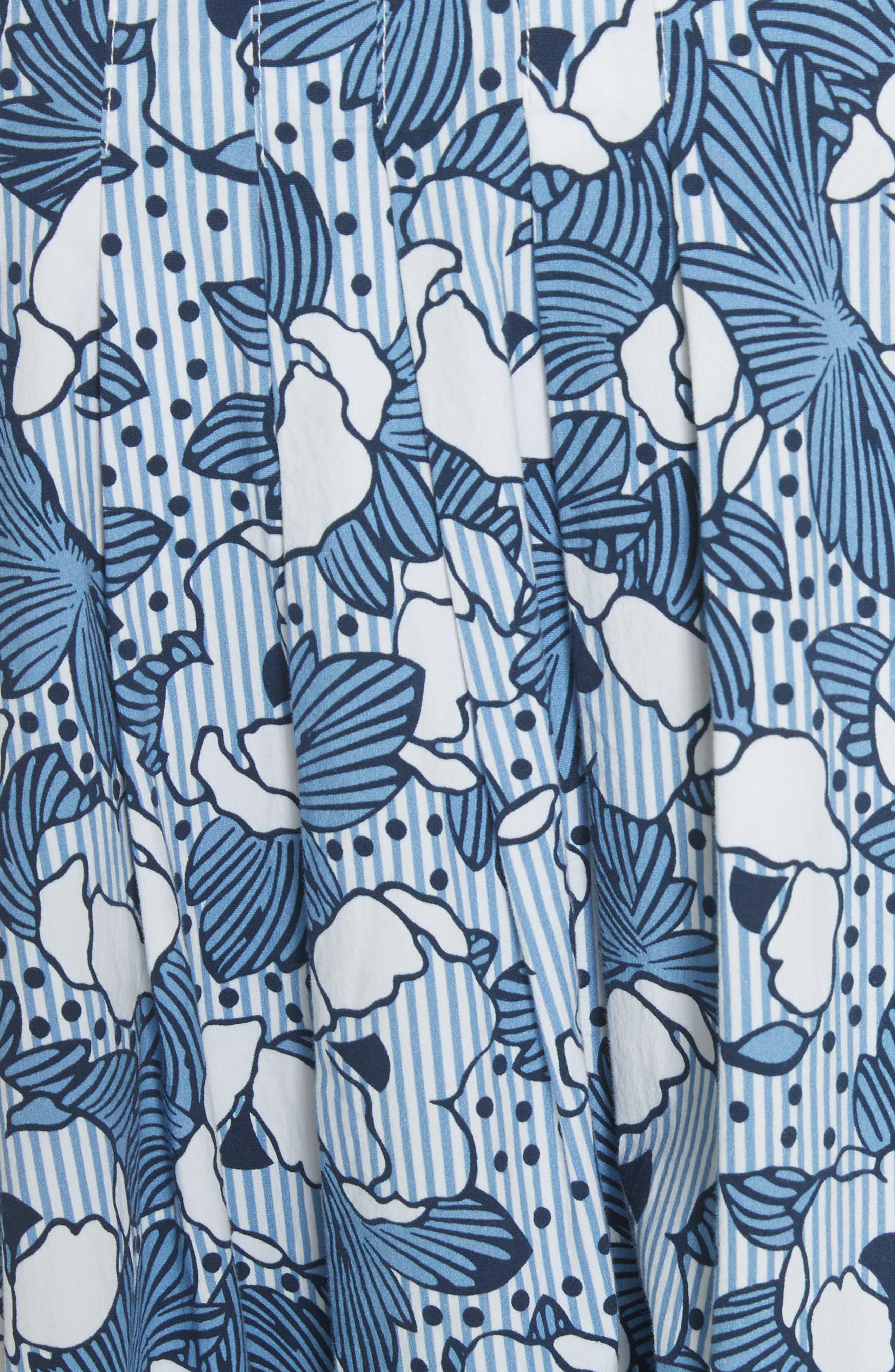 Caralina Floral Print Midi Skirt,                             Alternate thumbnail 5, color,                             Blue/ White