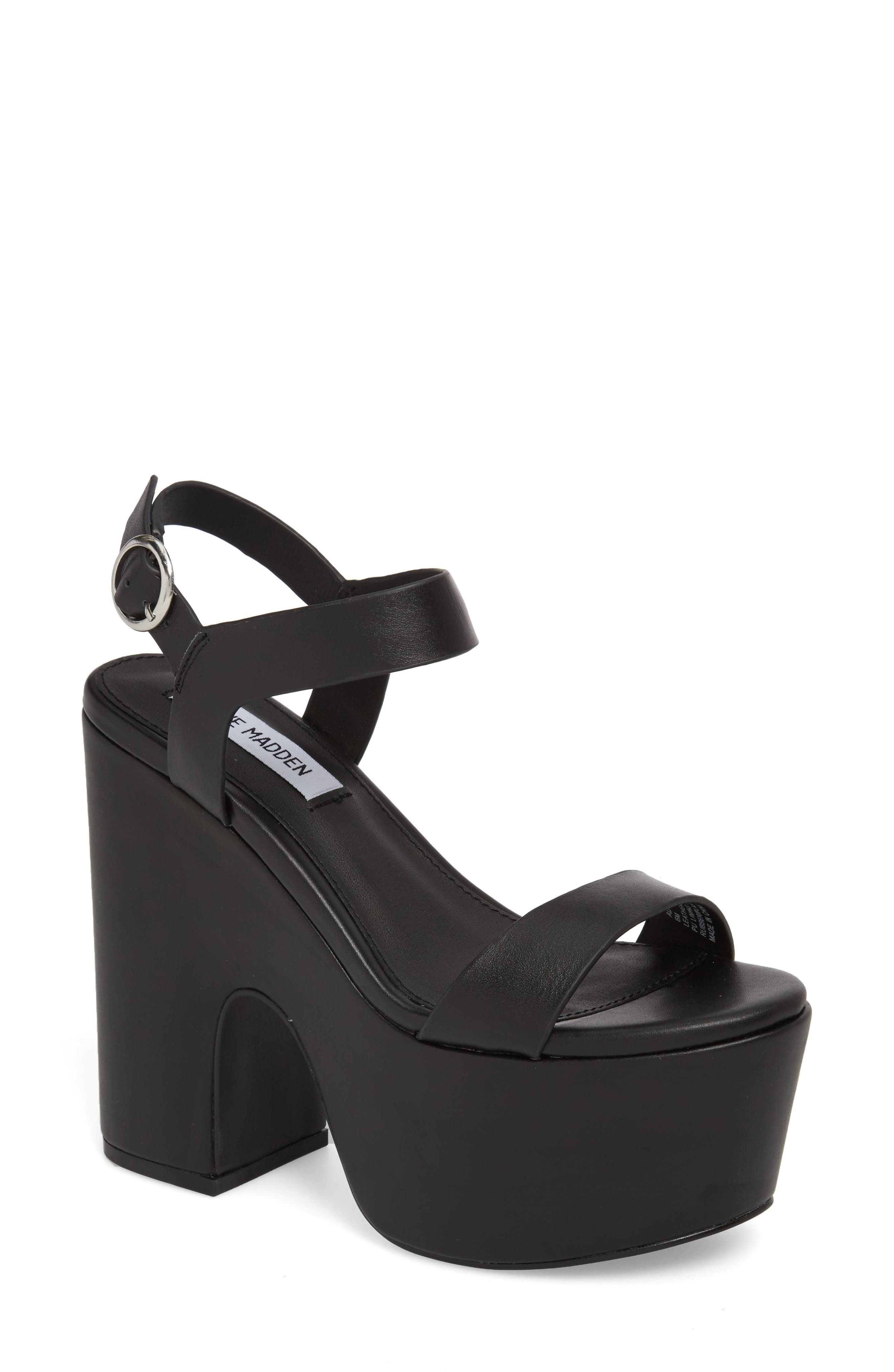 Advice Platform Sandal,                             Main thumbnail 1, color,                             Black Leather