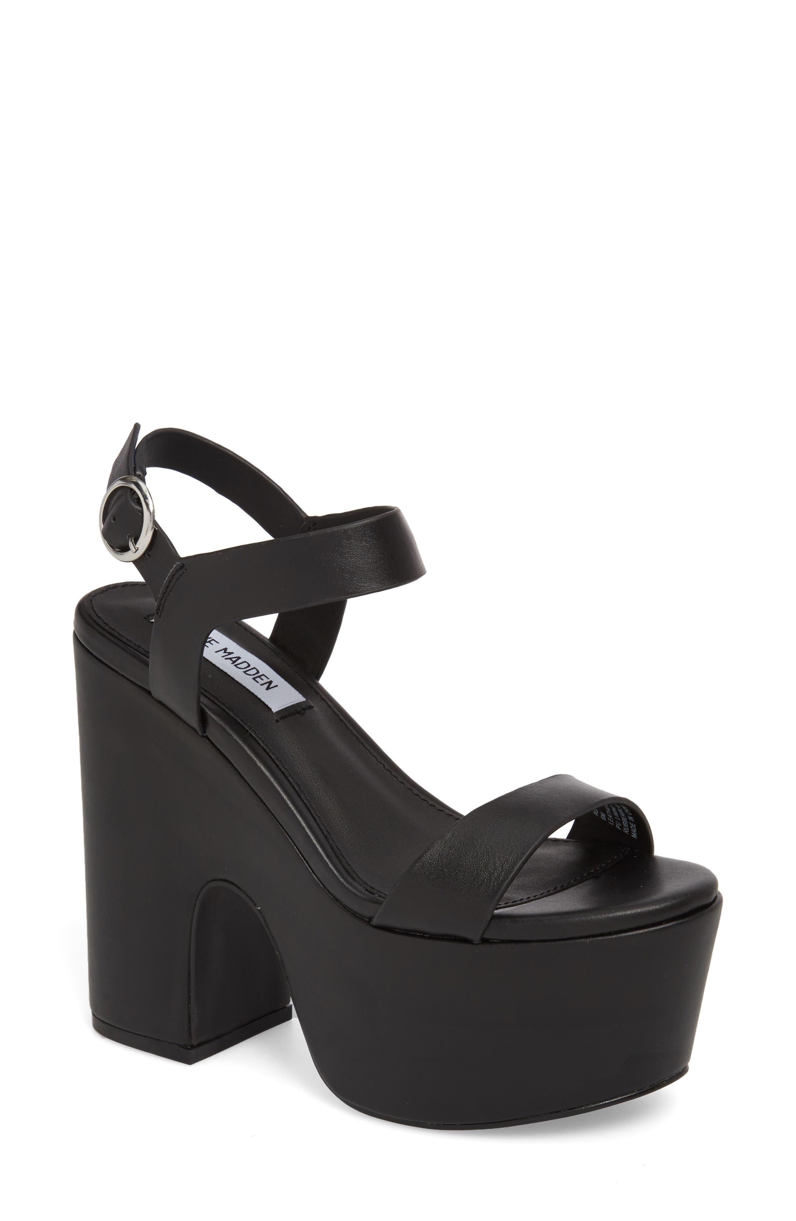 Advice Platform Sandal,                         Main,                         color, Black Leather