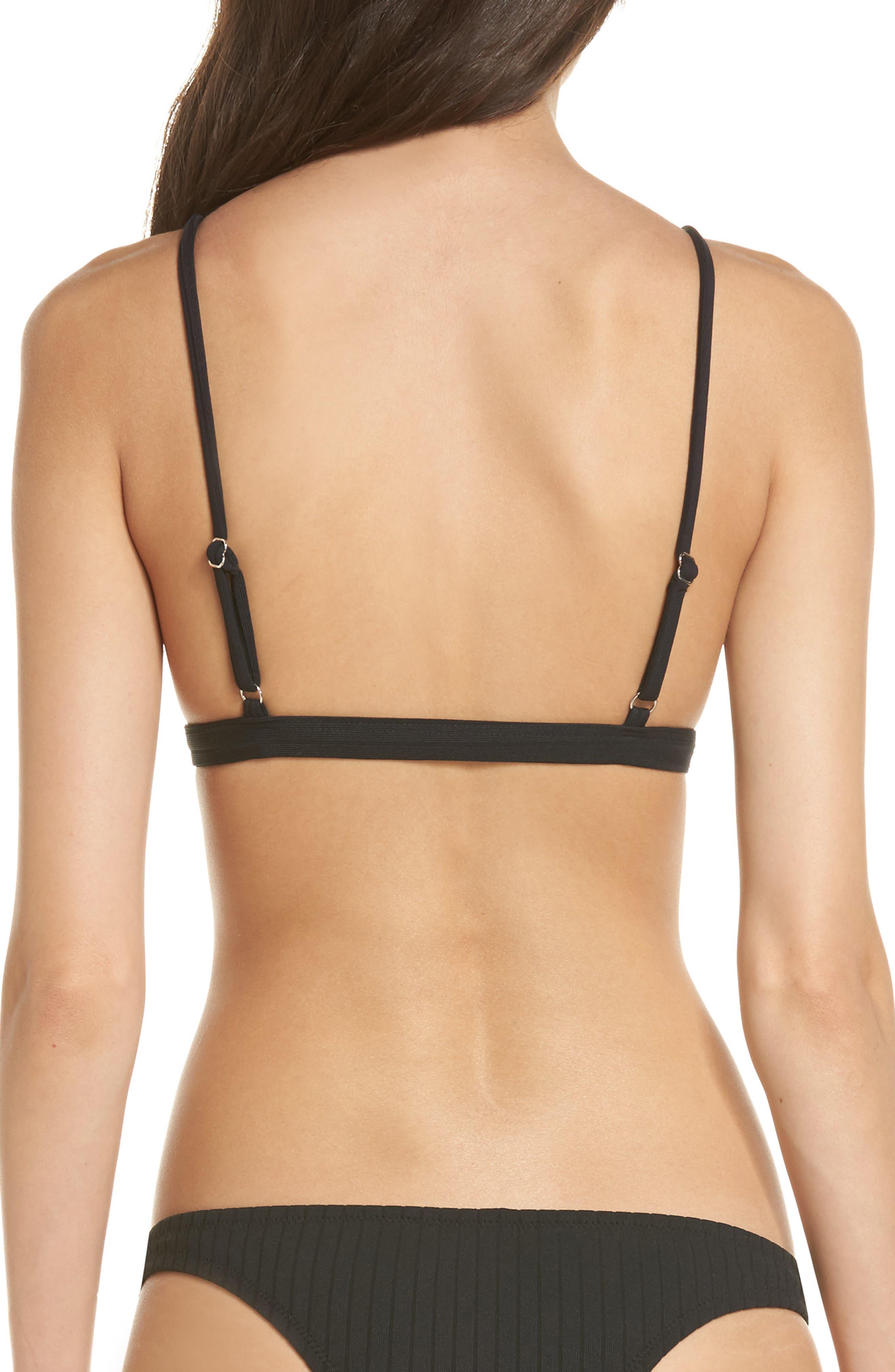 Hermosa Bikini Top,                             Alternate thumbnail 2, color,                             Black Rib