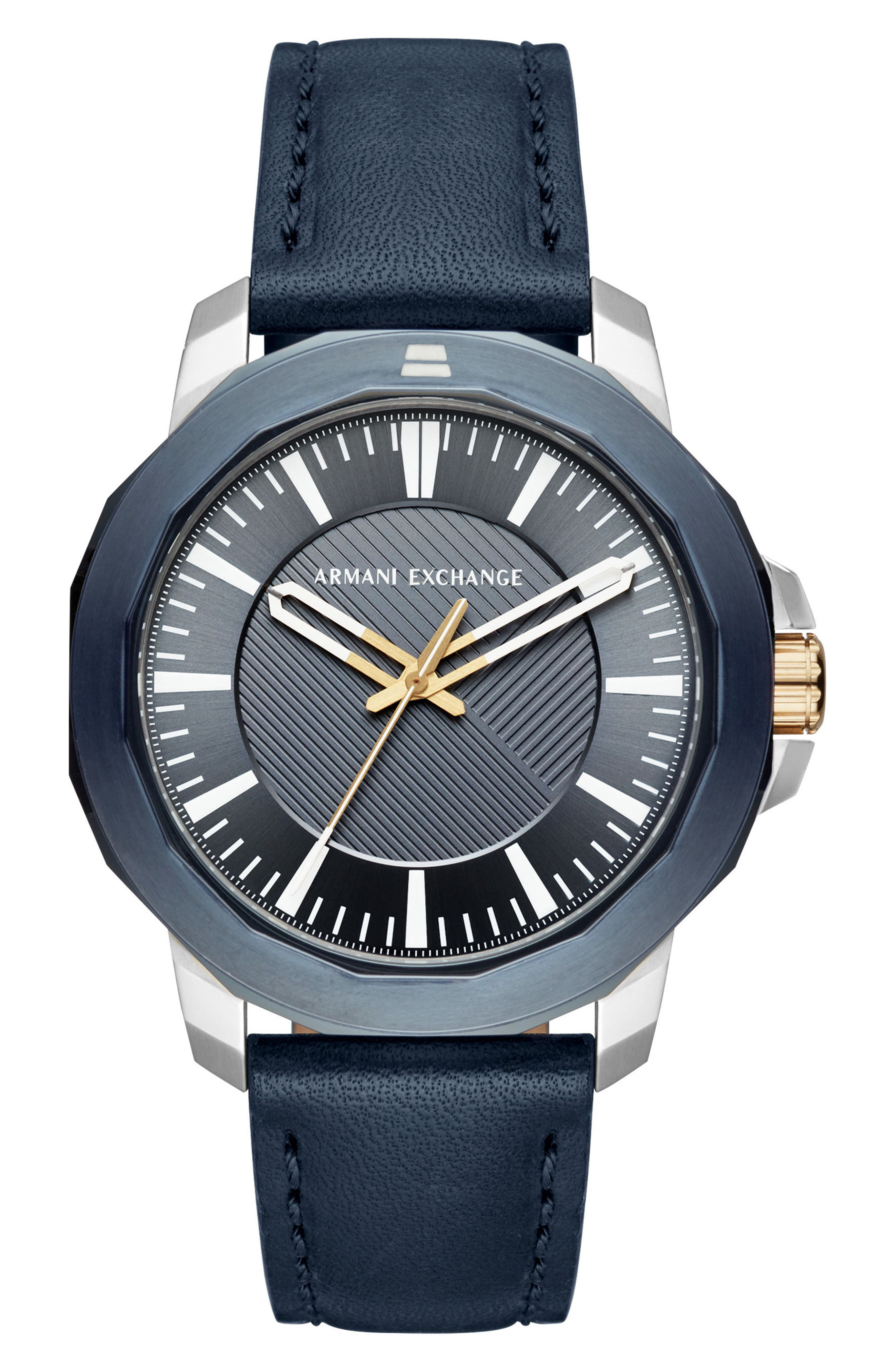 Three-Hand Leather Strap Watch, 44mm x 52mm,                         Main,                         color, Navy/ Navy