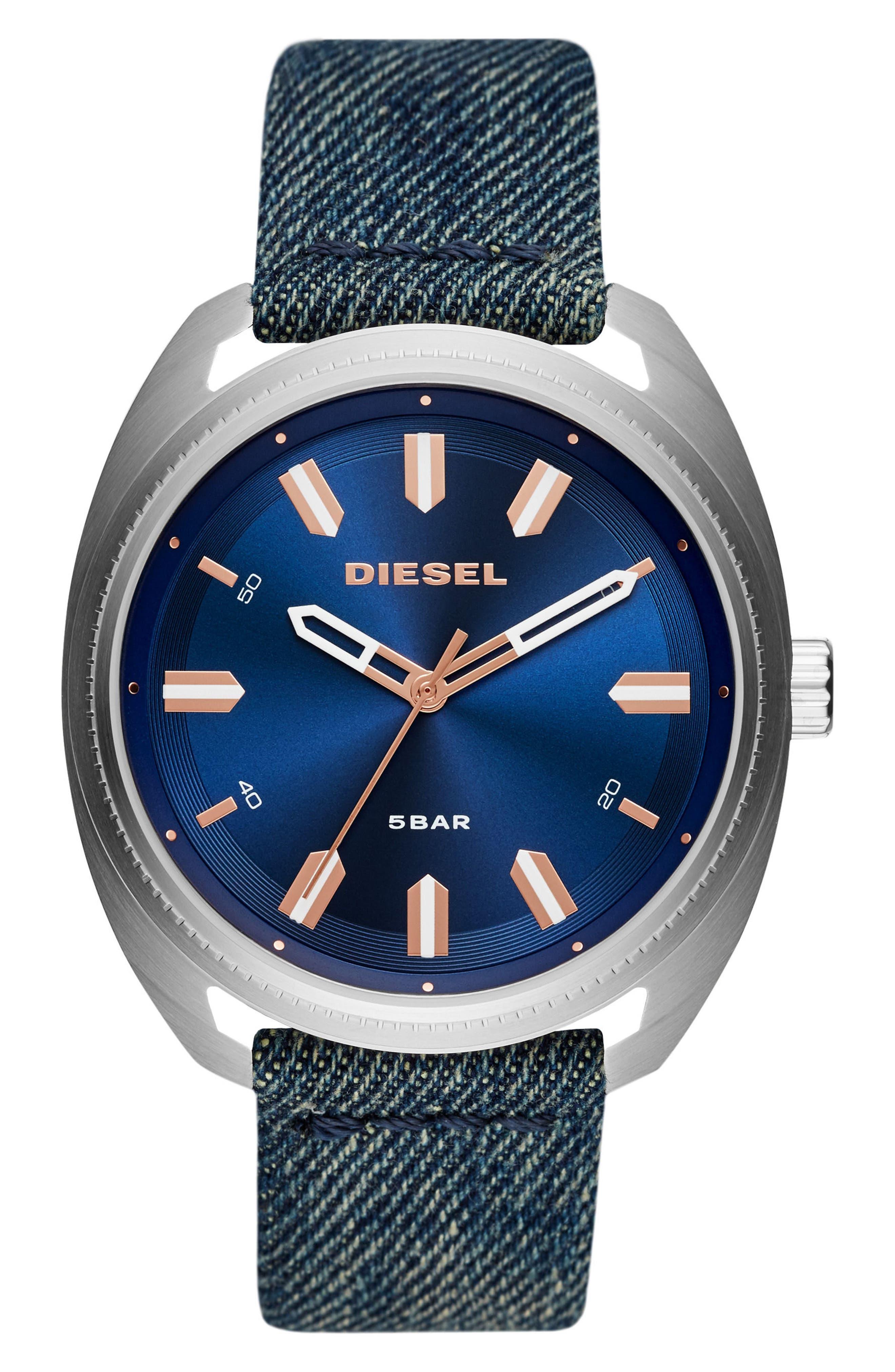 DIESEL® Fastbak Denim Strap Watch, 46mm x 52mm