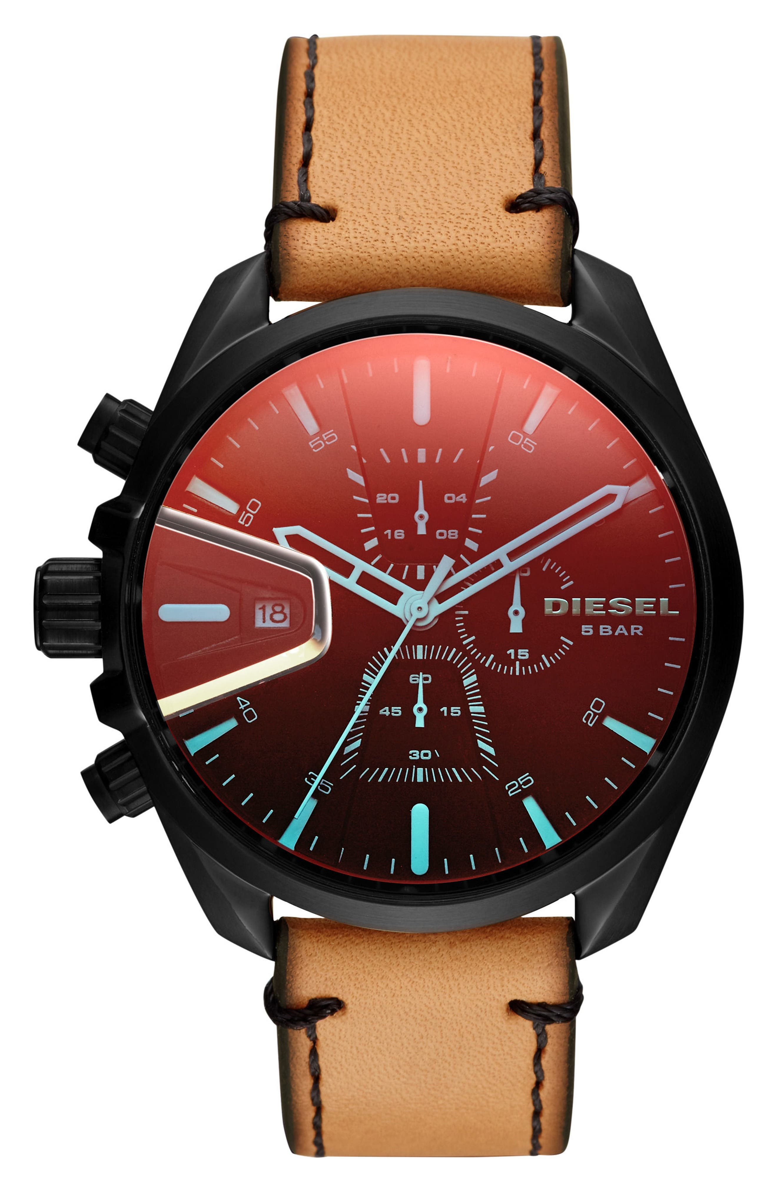 MS9 Chronograph Leather Strap Watch, 47mm,                         Main,                         color, Red/ Tan