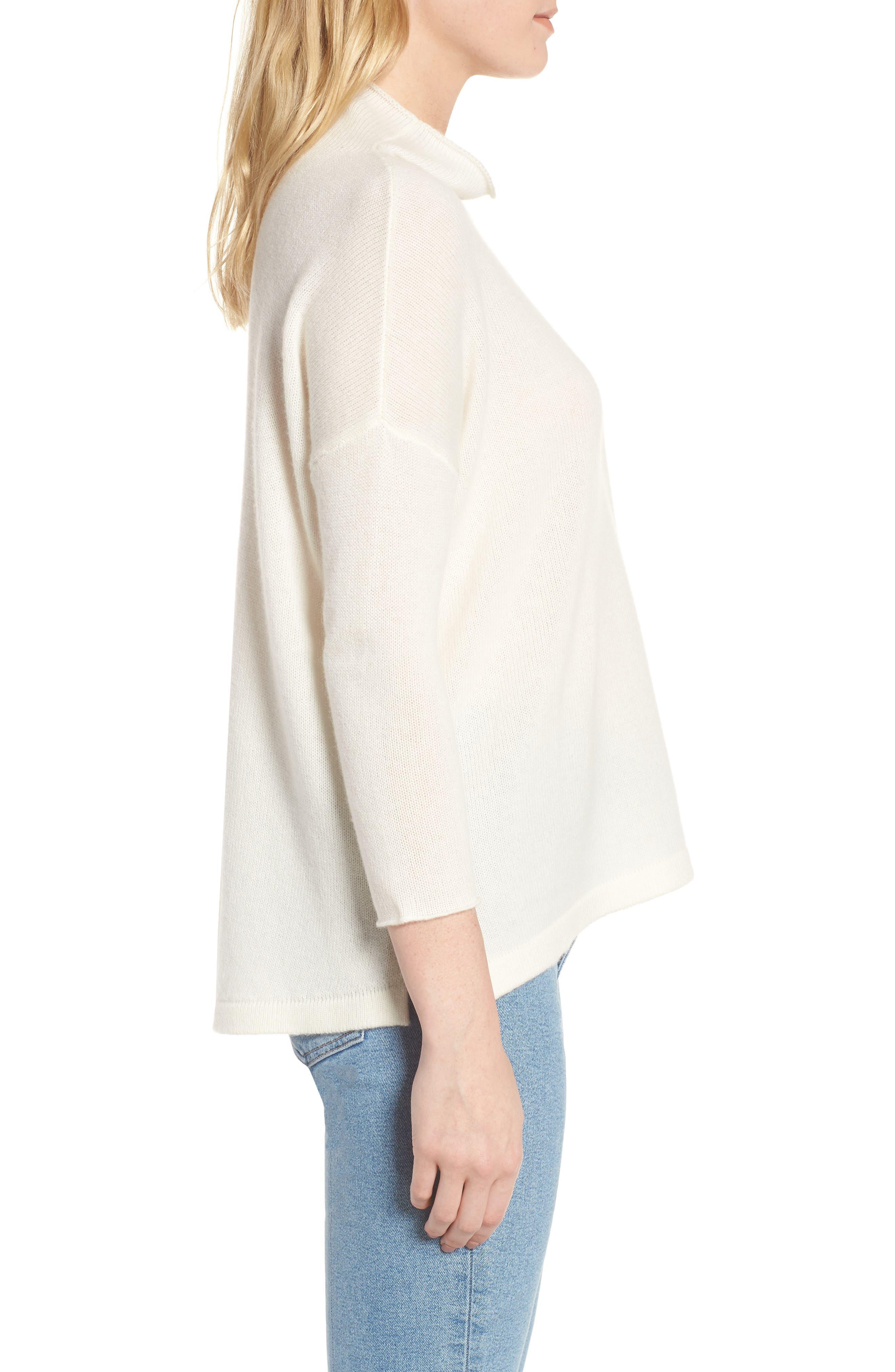 Mock Neck Cashmere Sweater,                             Alternate thumbnail 4, color,                             Ivory