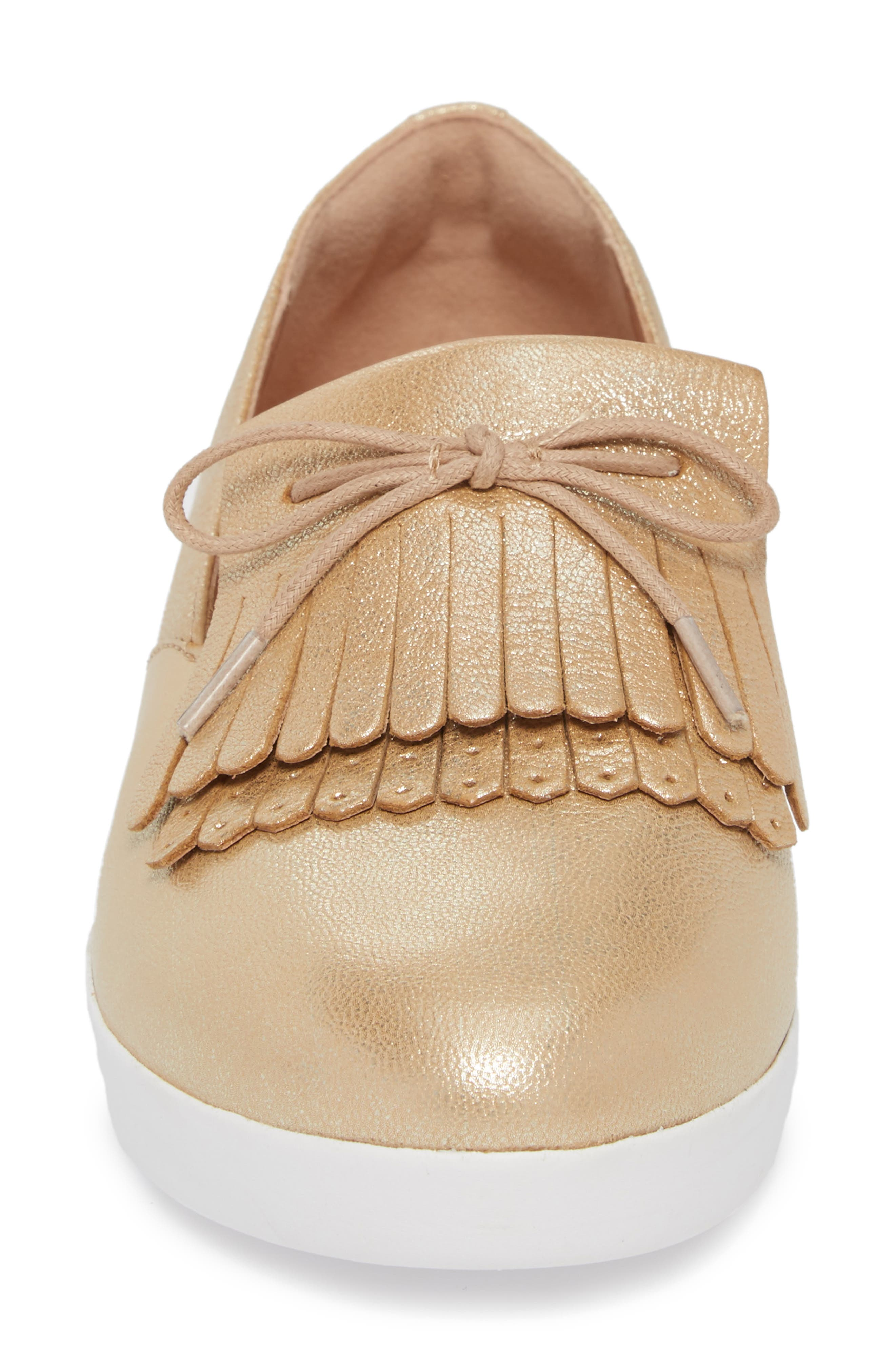 Superskate Fringe Loafer,                             Alternate thumbnail 4, color,                             Metallic Gold Leather