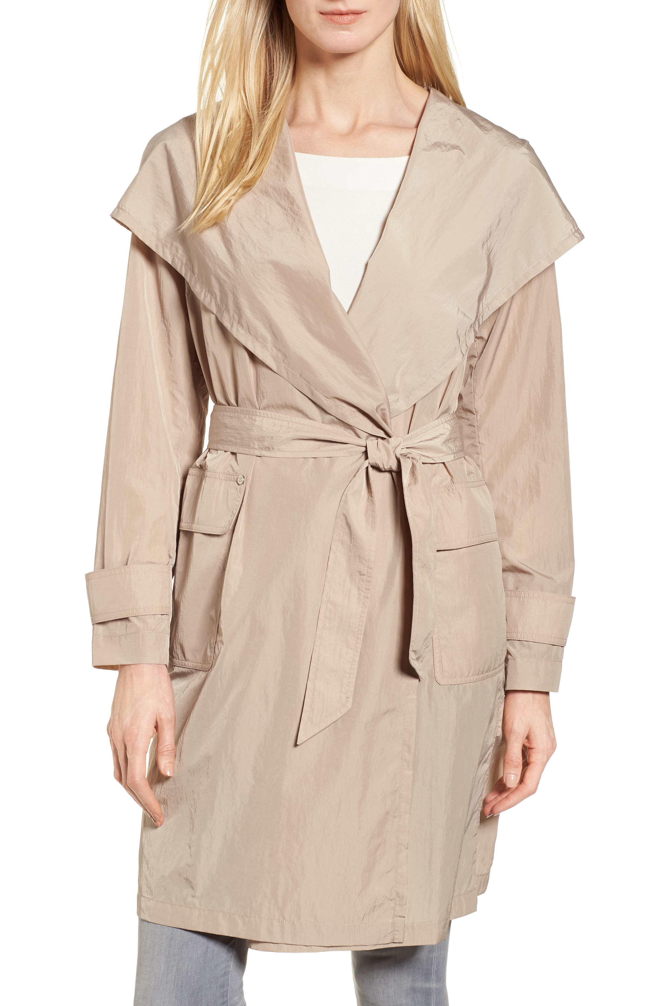 Flo Packable Hooded Raincoat,                         Main,                         color, Dune