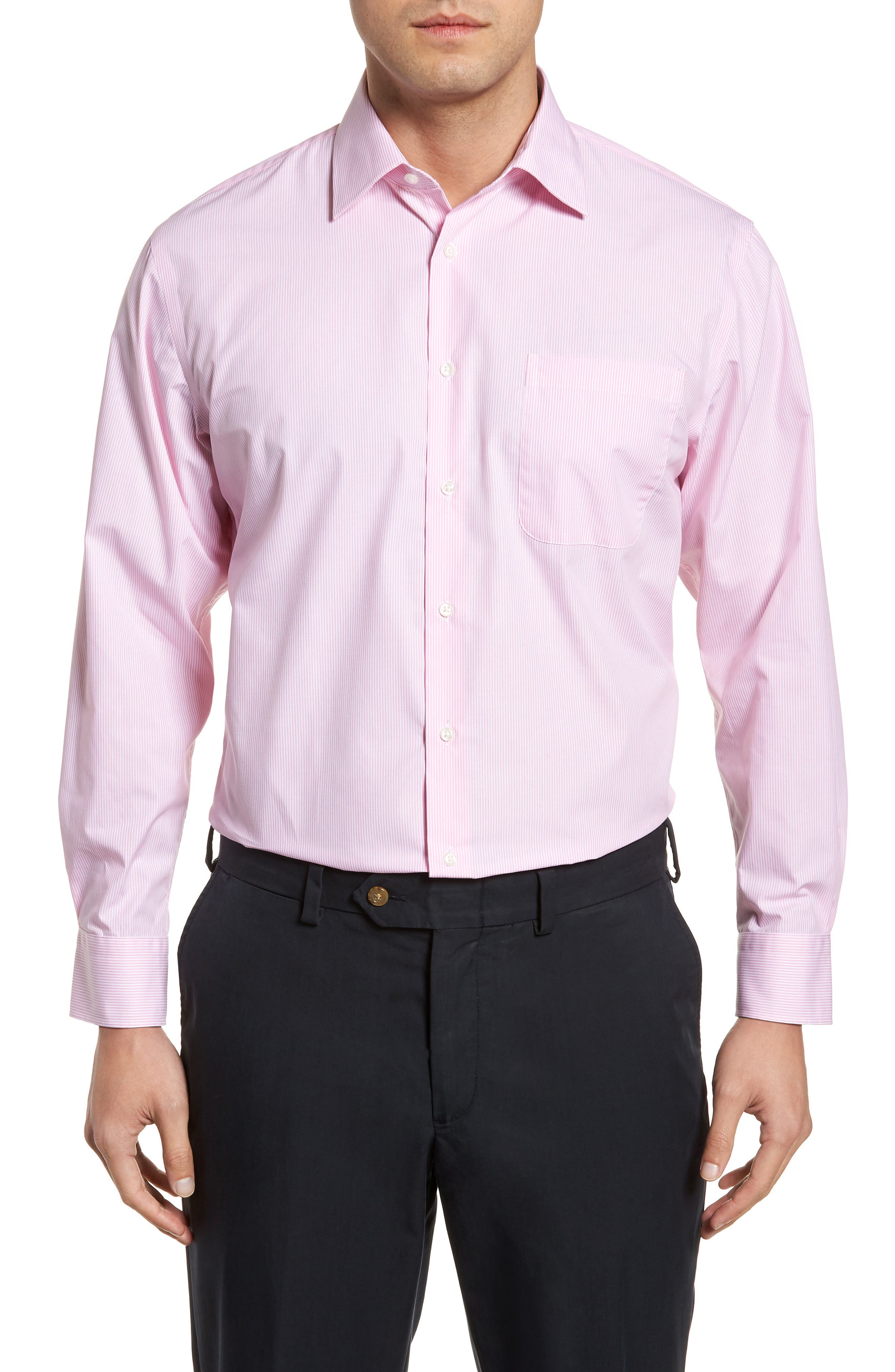 Smartcare<sup>™</sup> Traditional Fit Stripe Dress Shirt,                         Main,                         color, Pink Shore