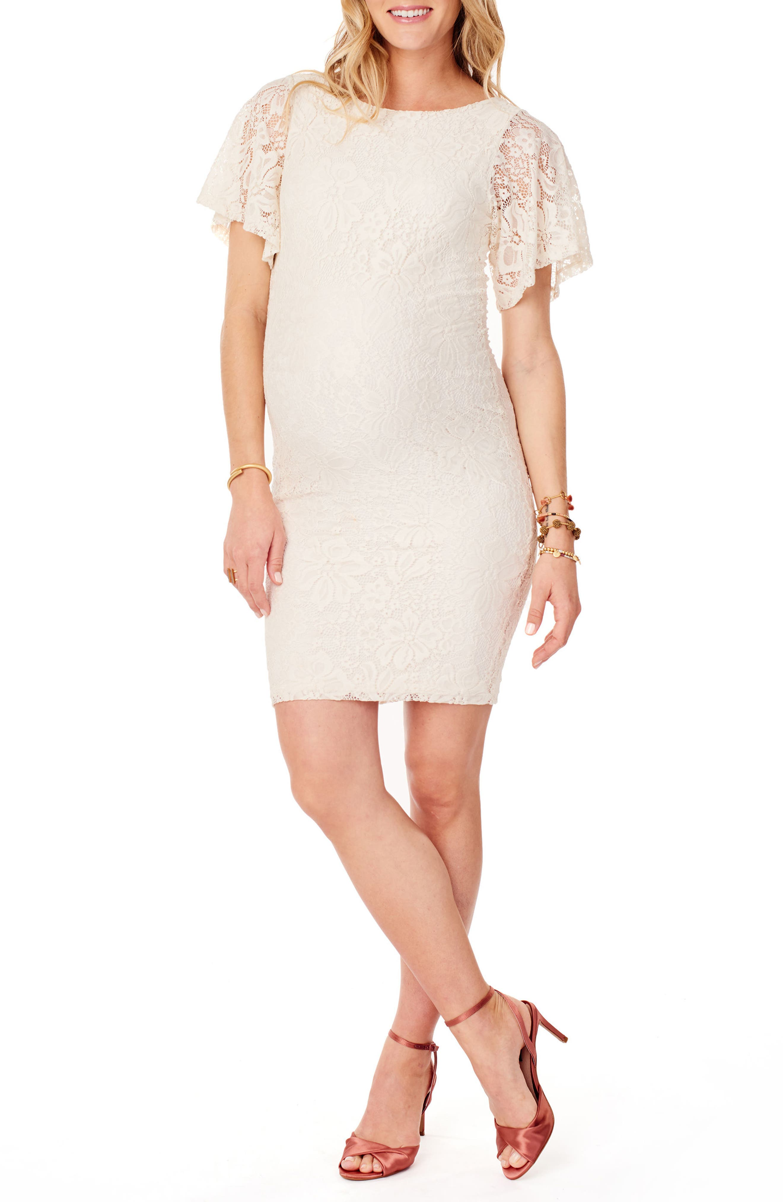 Flutter Sleeve Lace Maternity Dress,                             Main thumbnail 1, color,                             Ivory