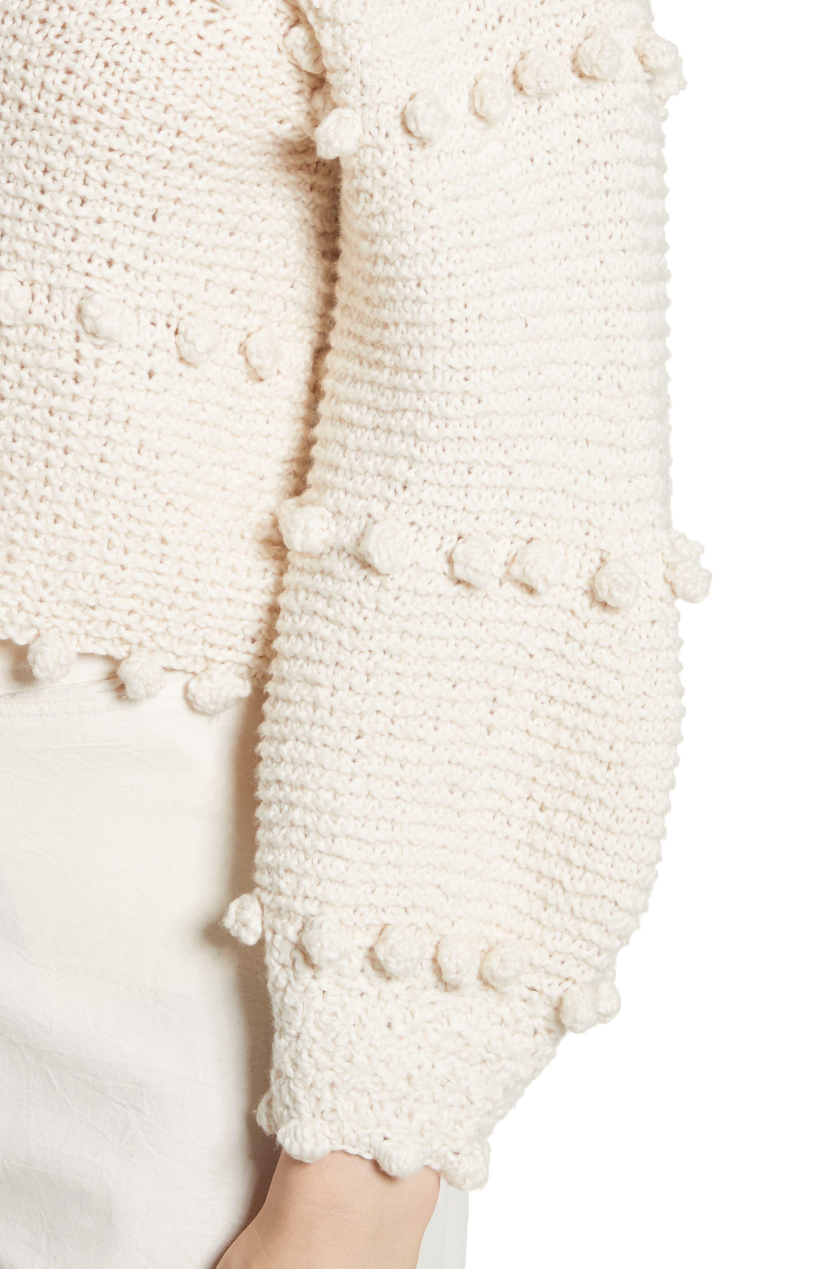 Hyacinth Pompom Stripe Sweater,                             Alternate thumbnail 4, color,                             Natural