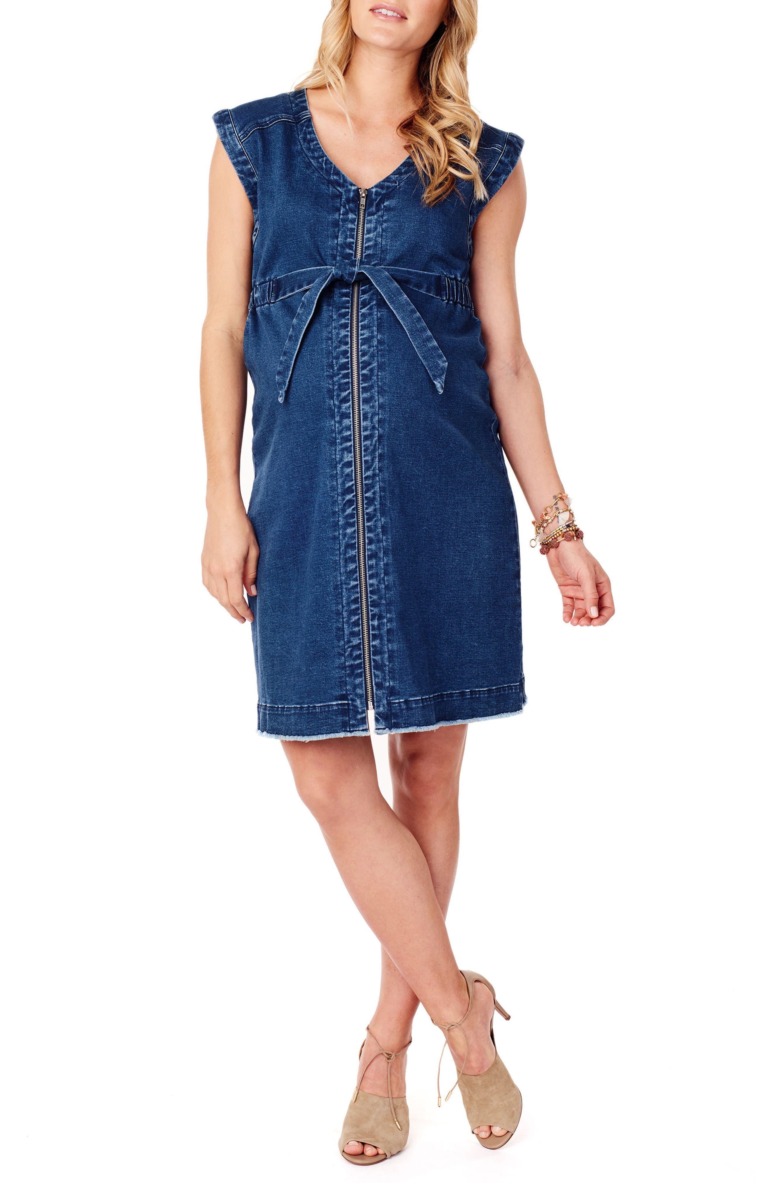Front Zip Denim Maternity/Nursing Dress,                         Main,                         color, Medium Wash