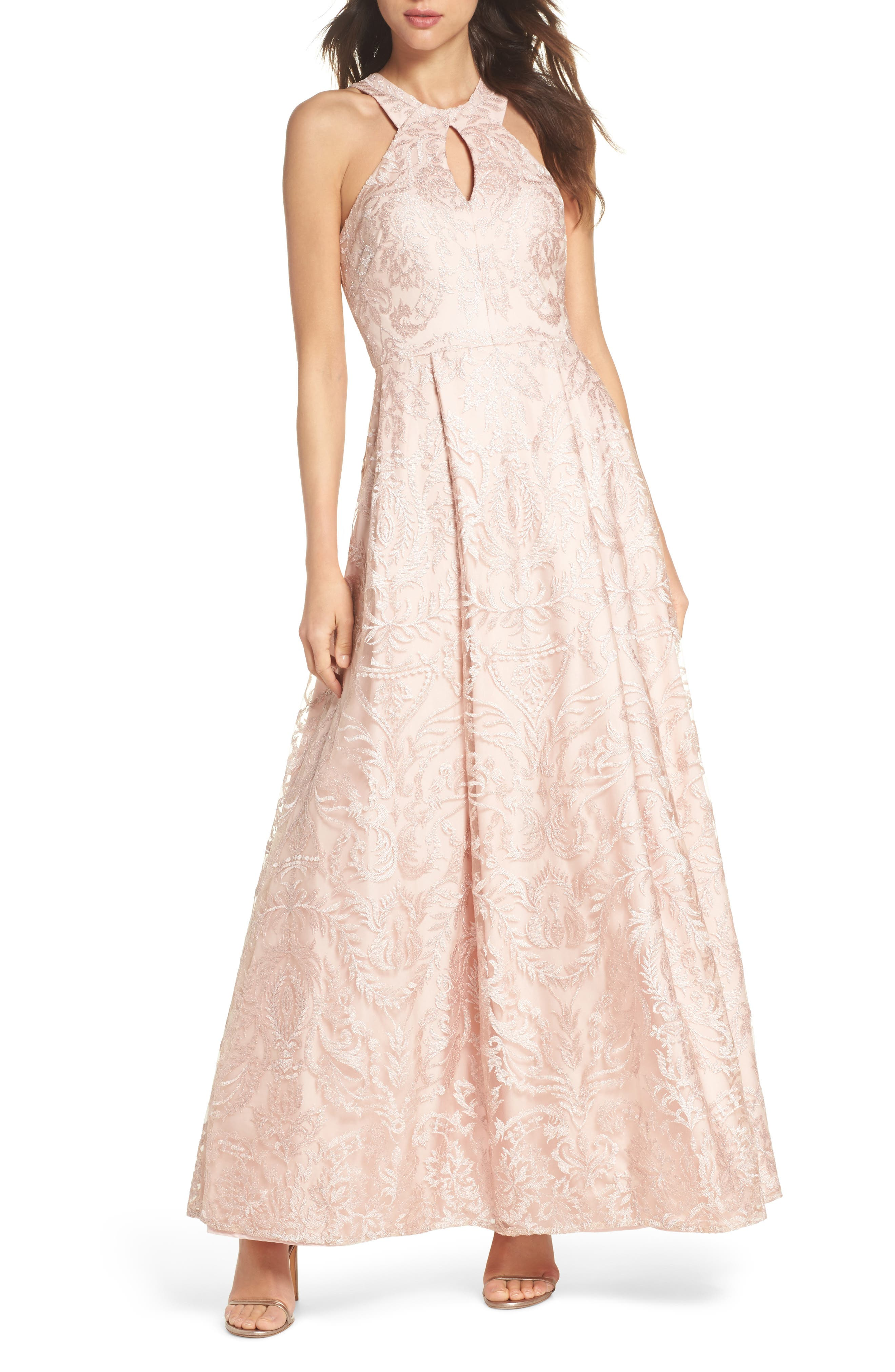 Keyhole Neck Embroidered Ballgown,                             Main thumbnail 1, color,                             Blush / Nude