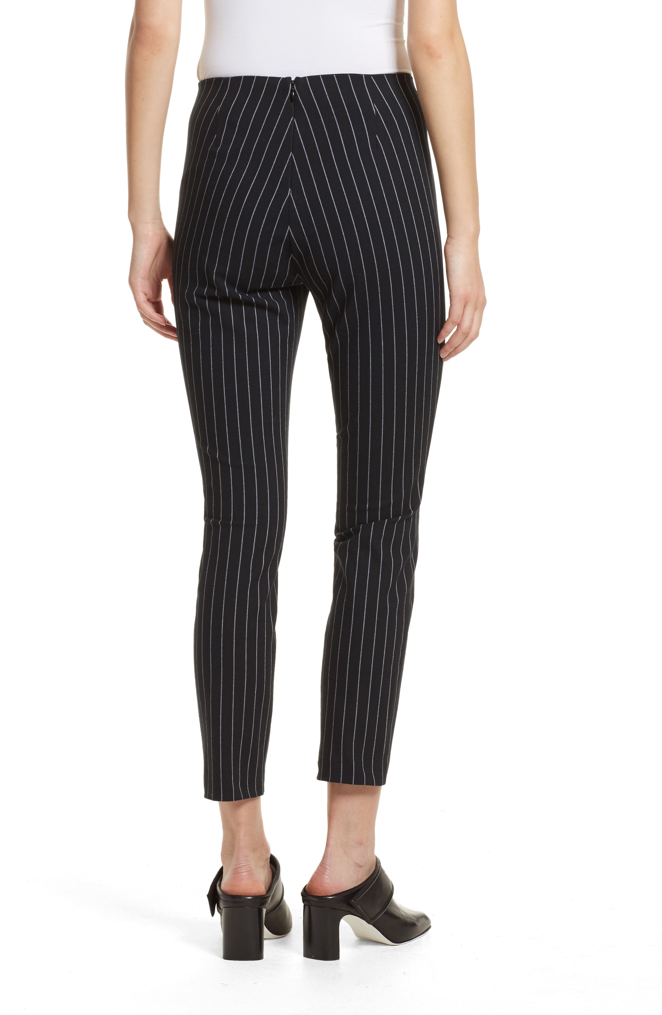 Simone Pinstripe Pants,                             Alternate thumbnail 2, color,                             Black/ White