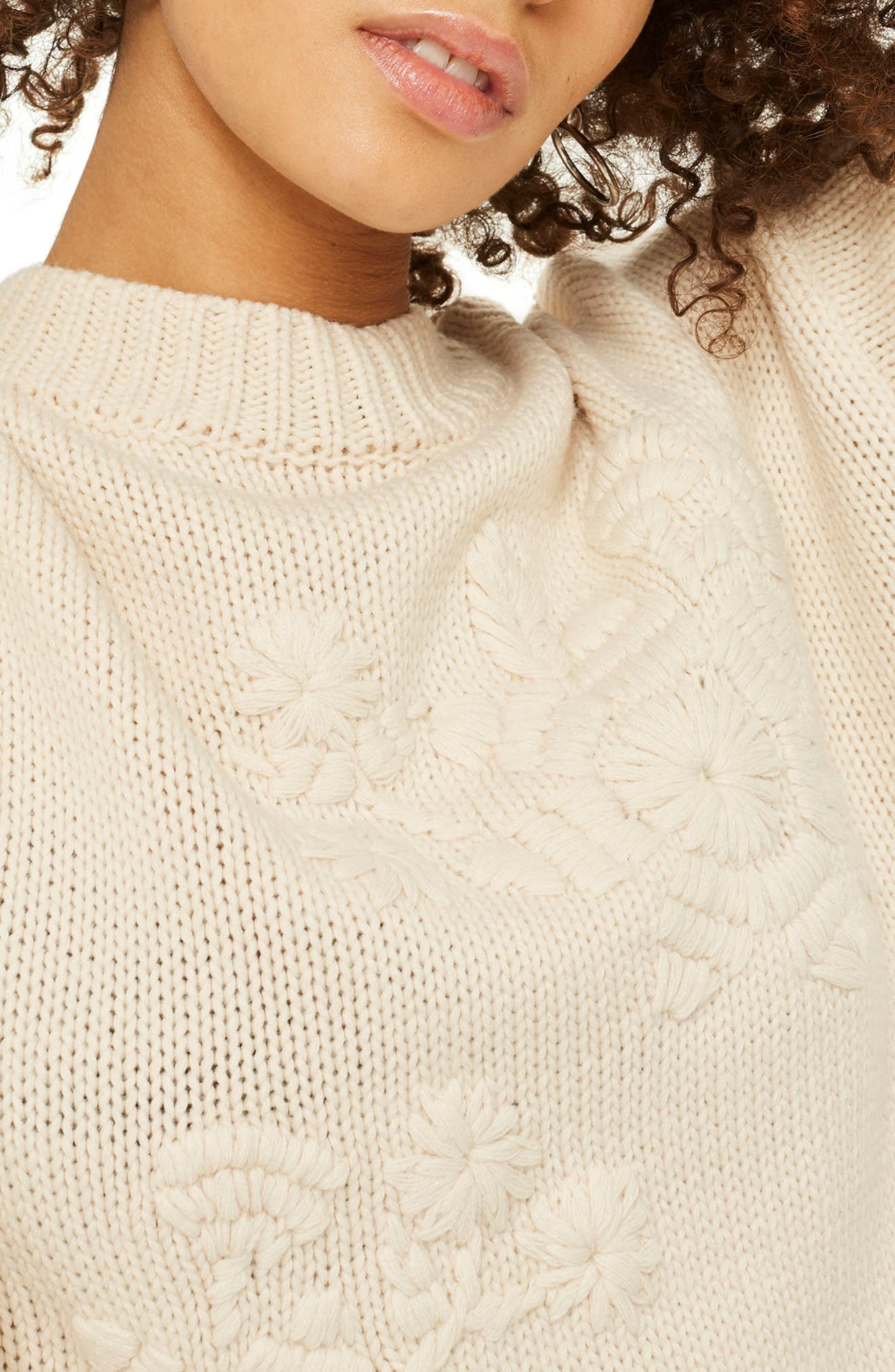 Tonal Embroidered Sweater,                             Alternate thumbnail 3, color,                             Cream