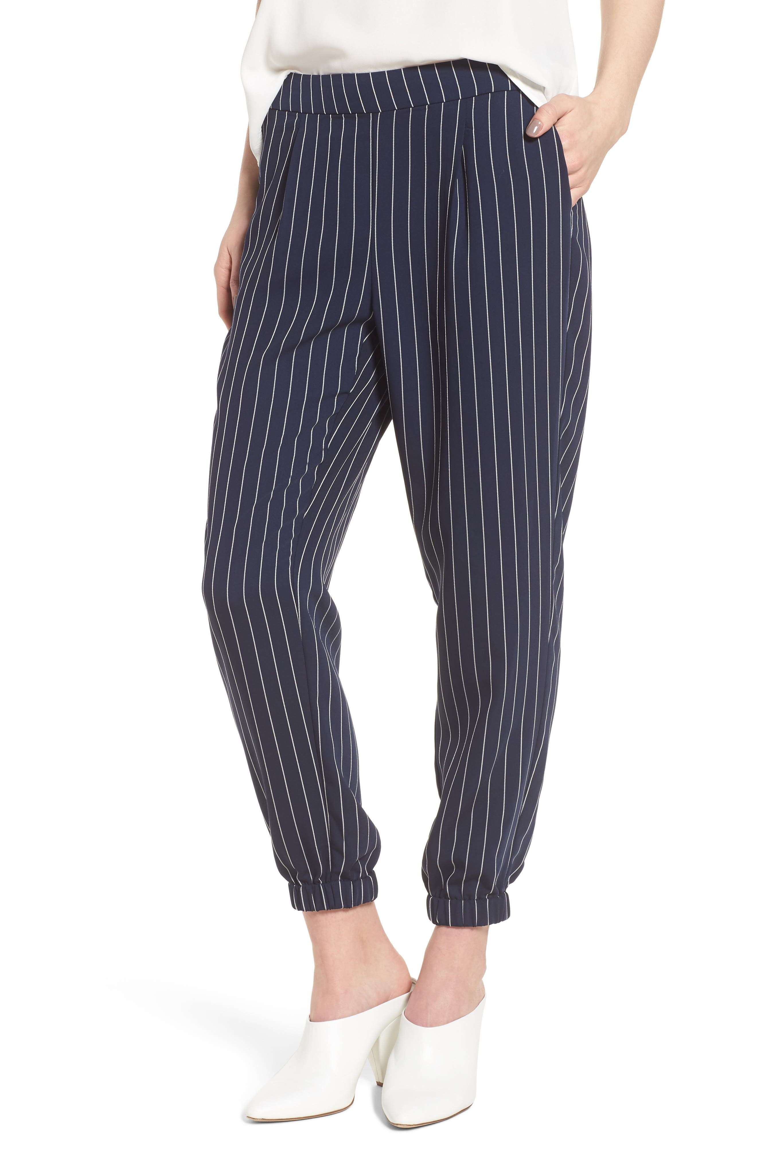 Stripe Jogger Pants,                             Main thumbnail 1, color,                             Navy- Ivory Emma Stripe