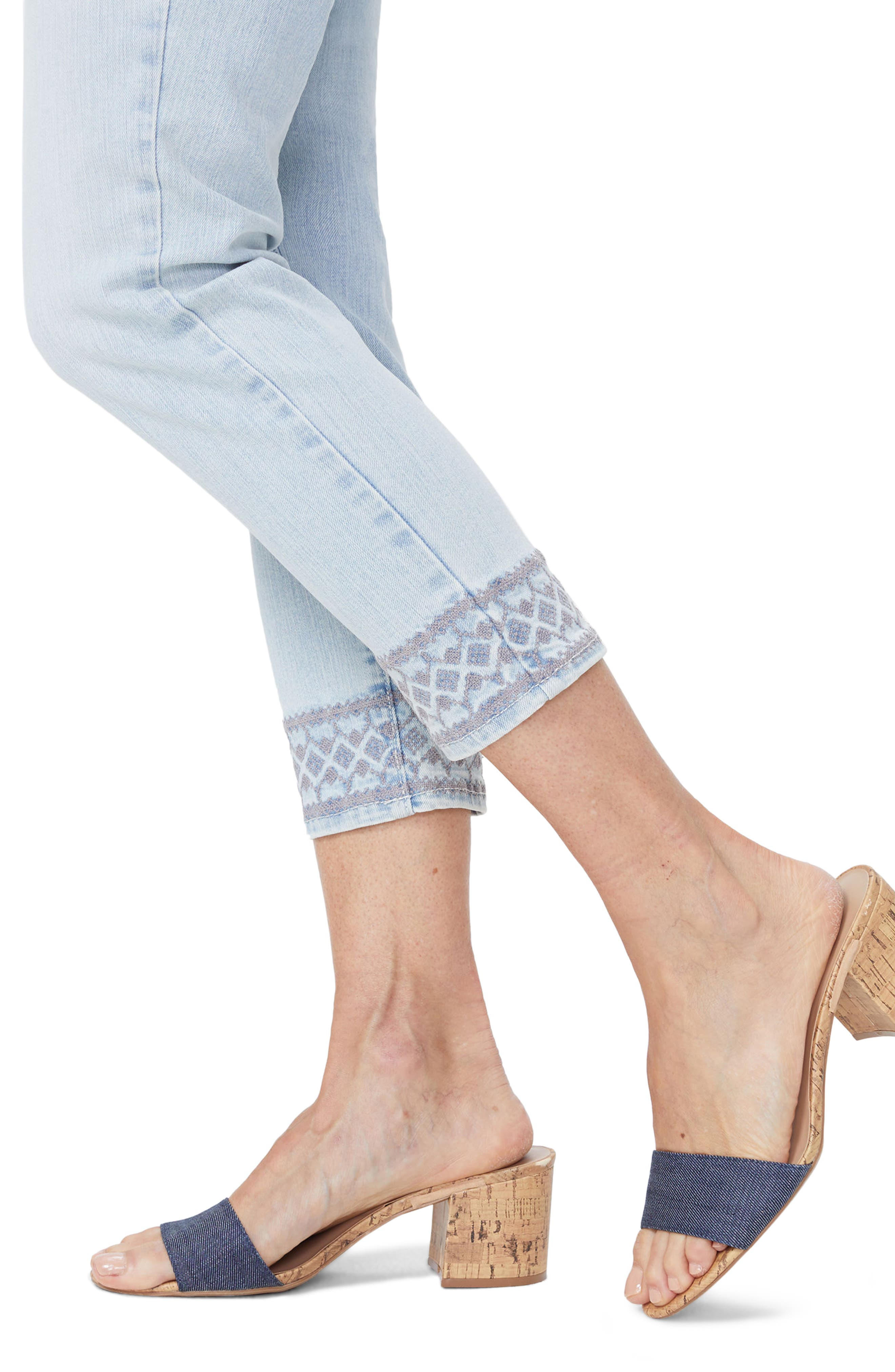 Ami Embroidered Border Ankle Skinny Jeans,                             Alternate thumbnail 3, color,                             Palm Desert