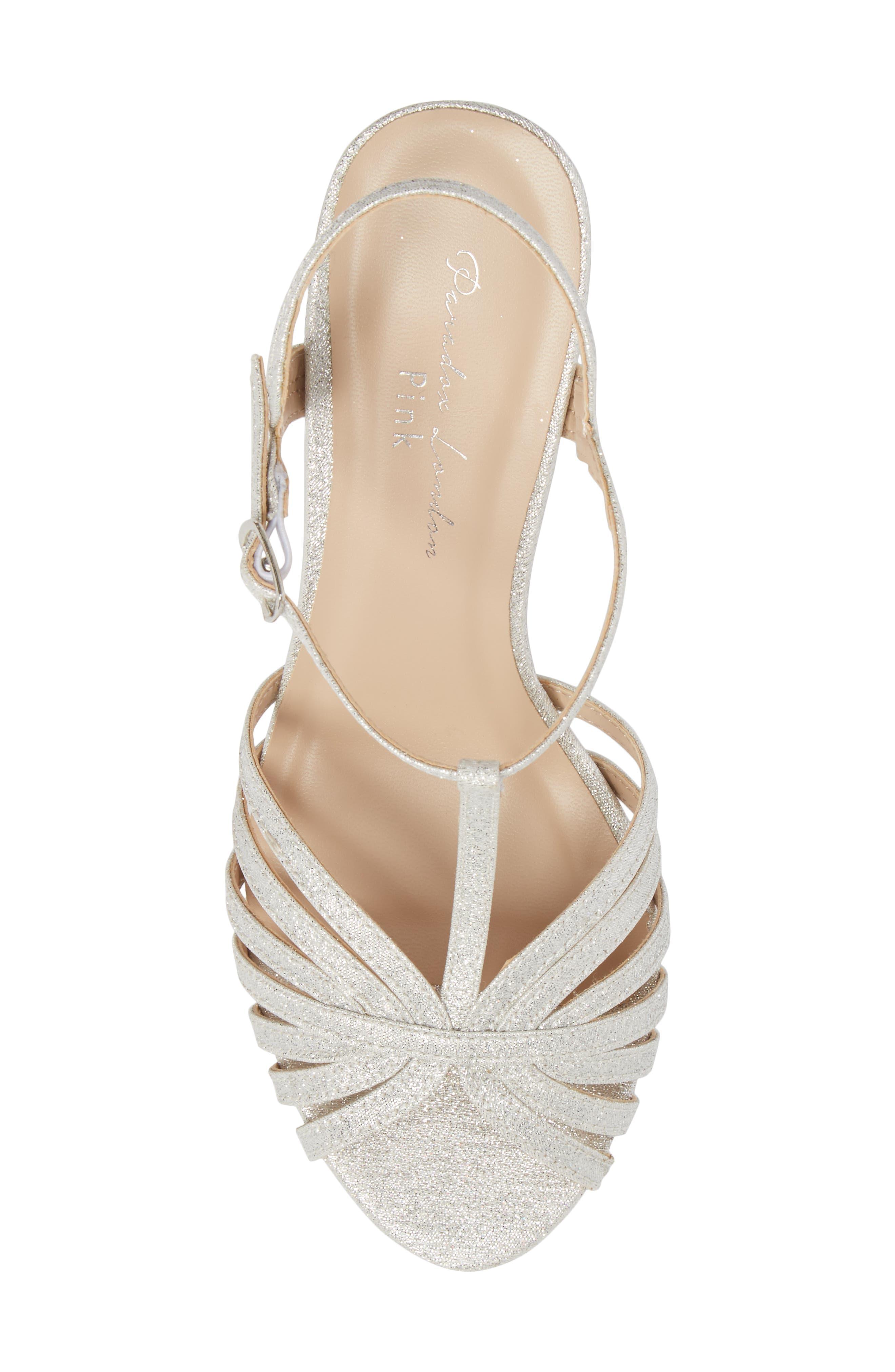 Maggie T-Strap Sandal,                             Alternate thumbnail 5, color,                             Silver Glitter