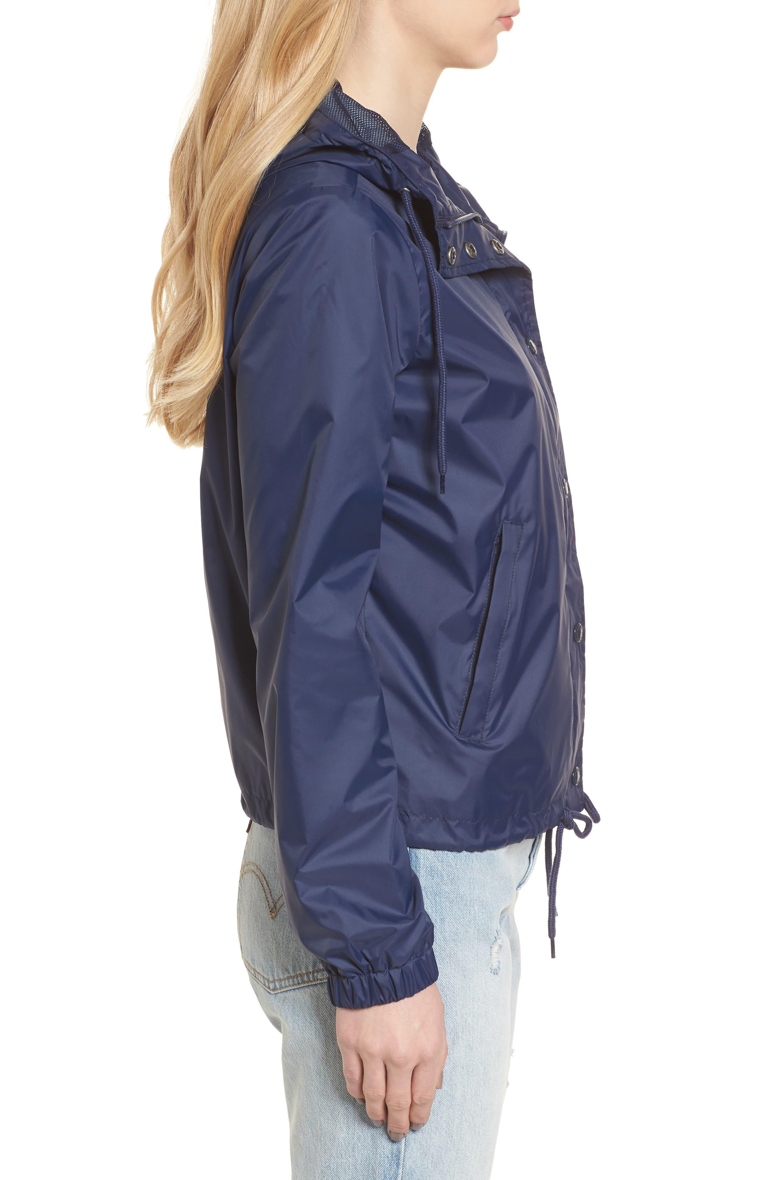 Retro Hooded Coach's Jacket,                             Alternate thumbnail 3, color,                             Navy