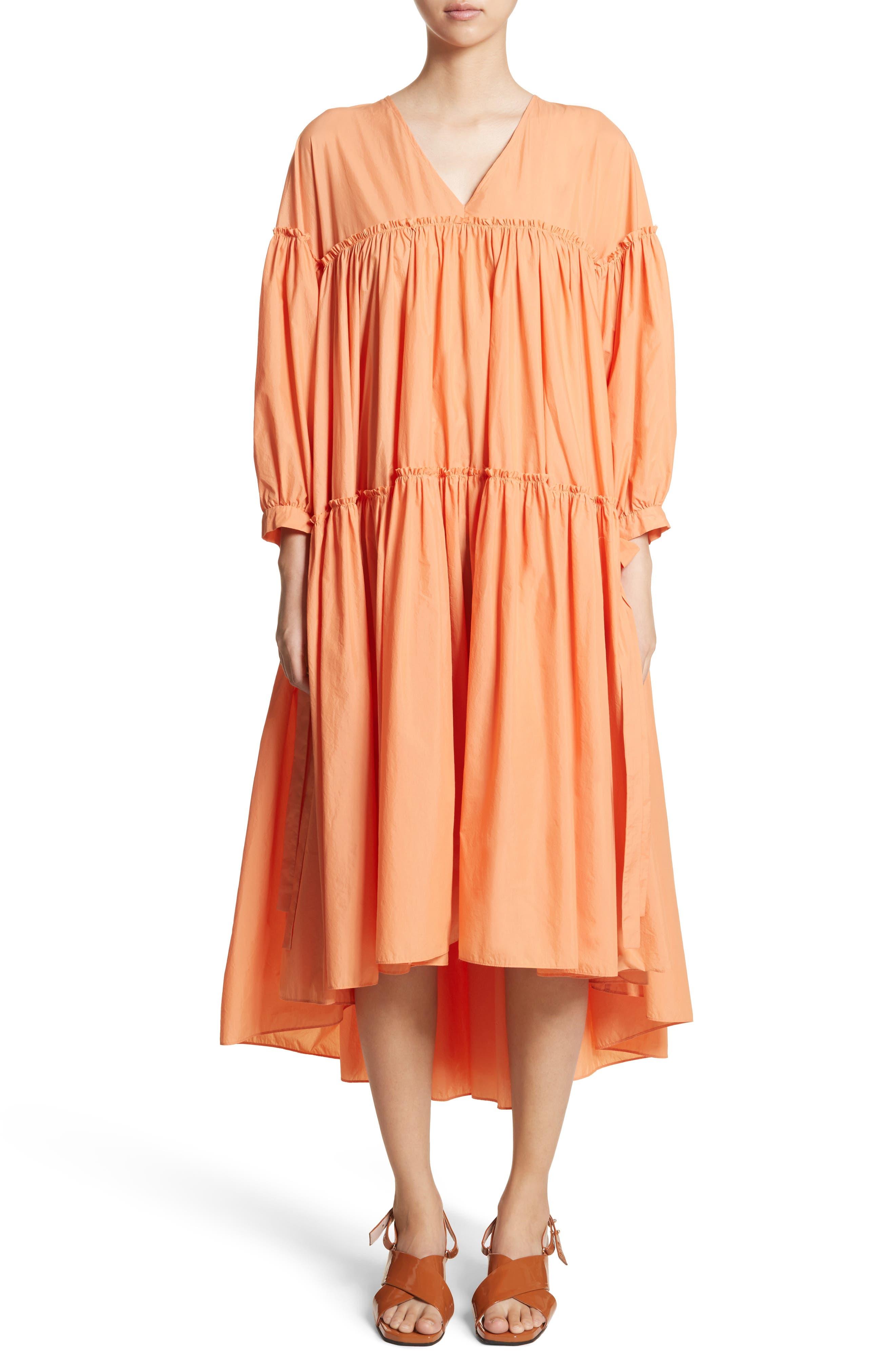 Sara Tiered Shift Dress,                             Main thumbnail 1, color,                             Cotton Orange