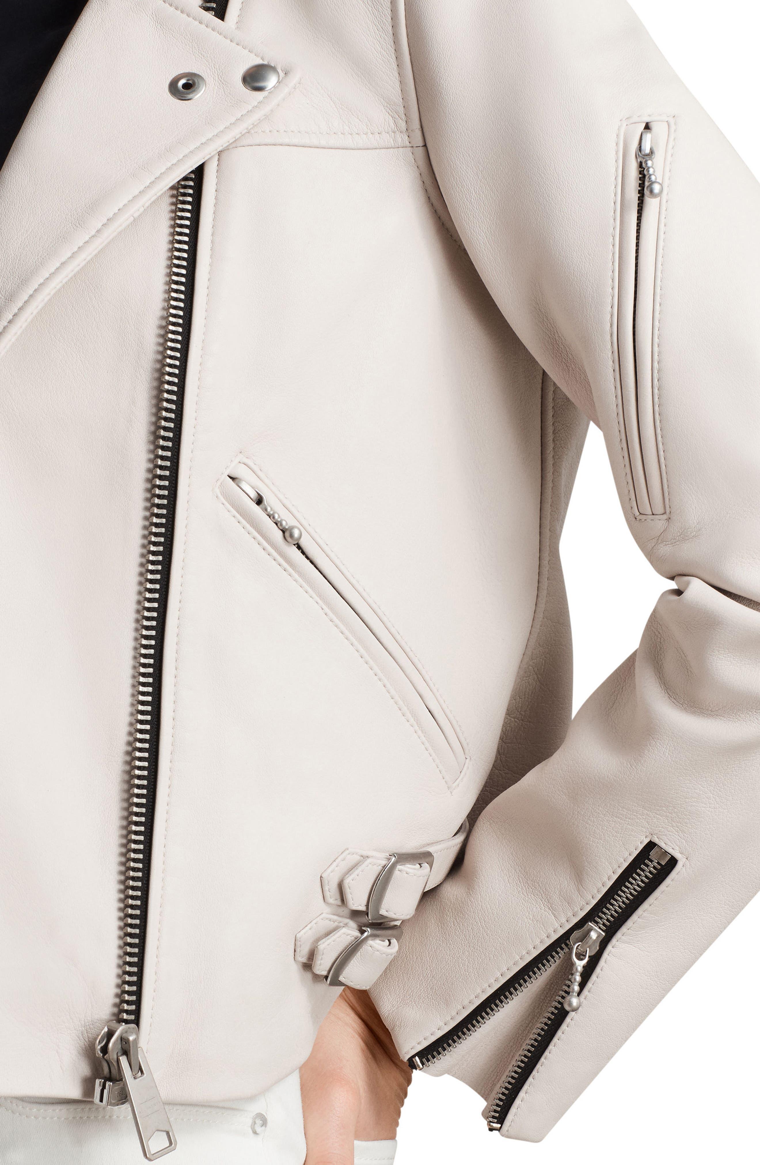 Prescott Leather Biker Jacket,                             Alternate thumbnail 5, color,                             Aries White