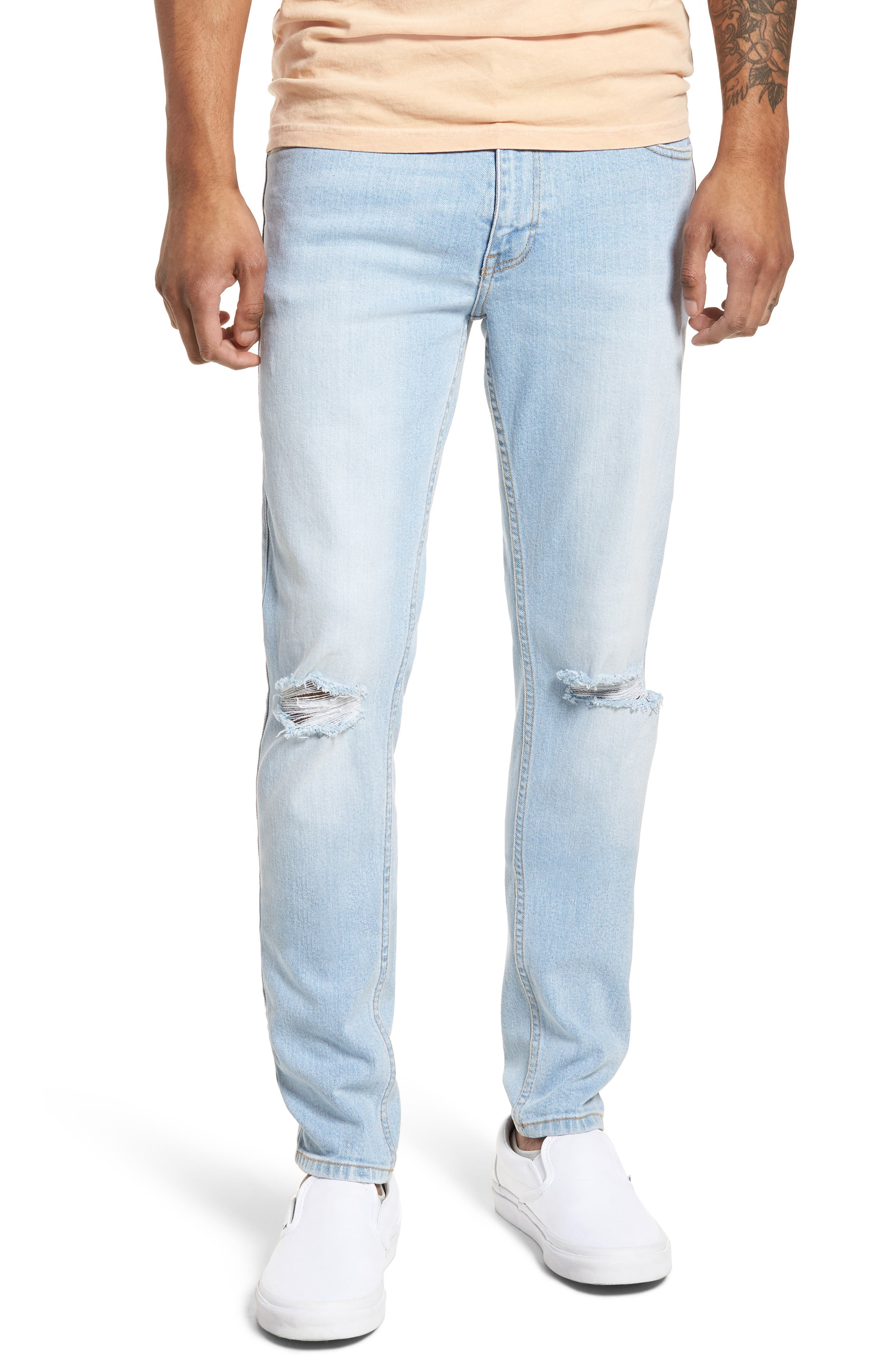 Dr. Denim Supply Co. Clark Slim Straight Leg Jeans (Superlight Blue Ripped)