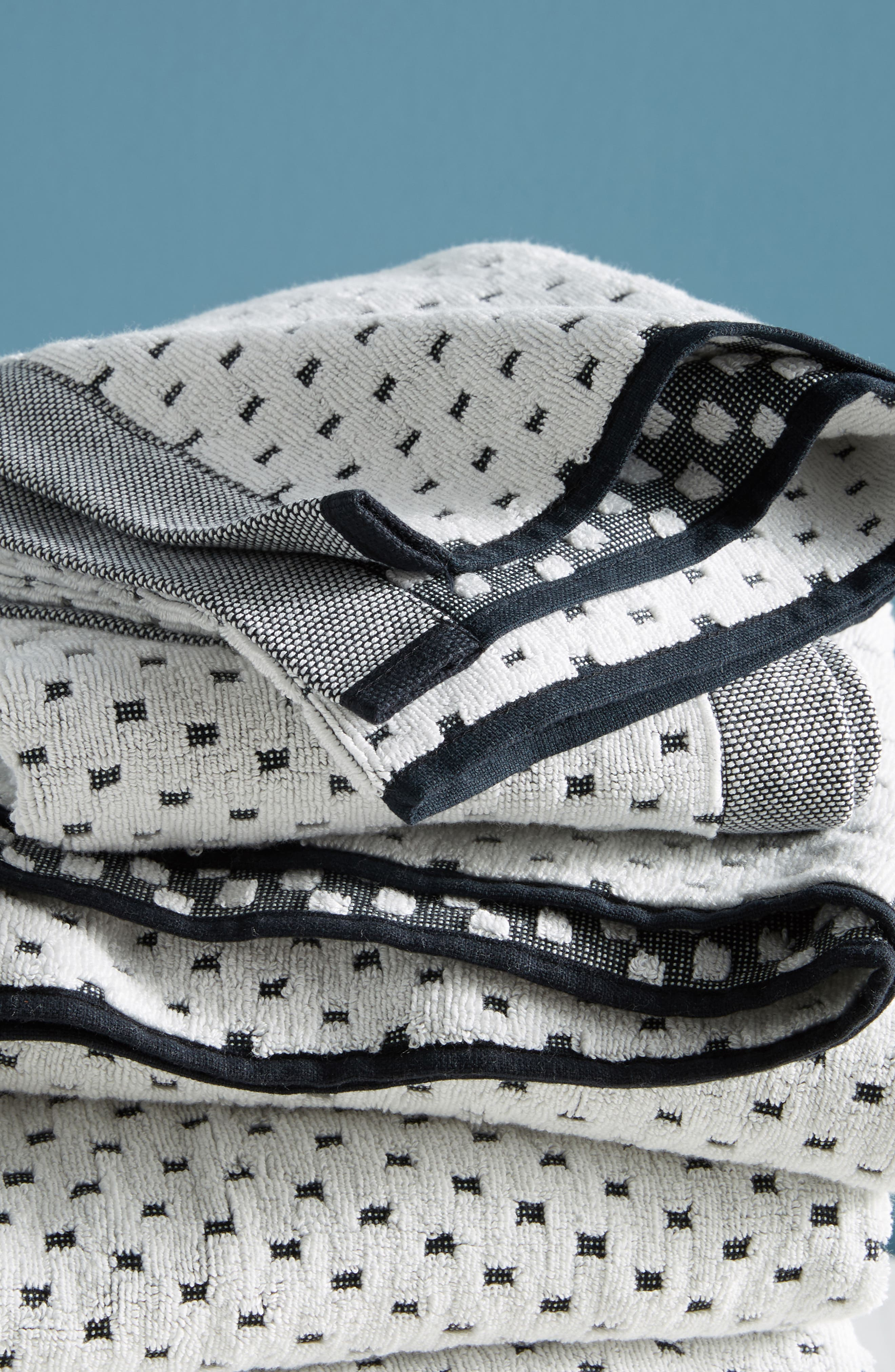 Dot Jacquard Bath Towel,                             Alternate thumbnail 2, color,                             Black