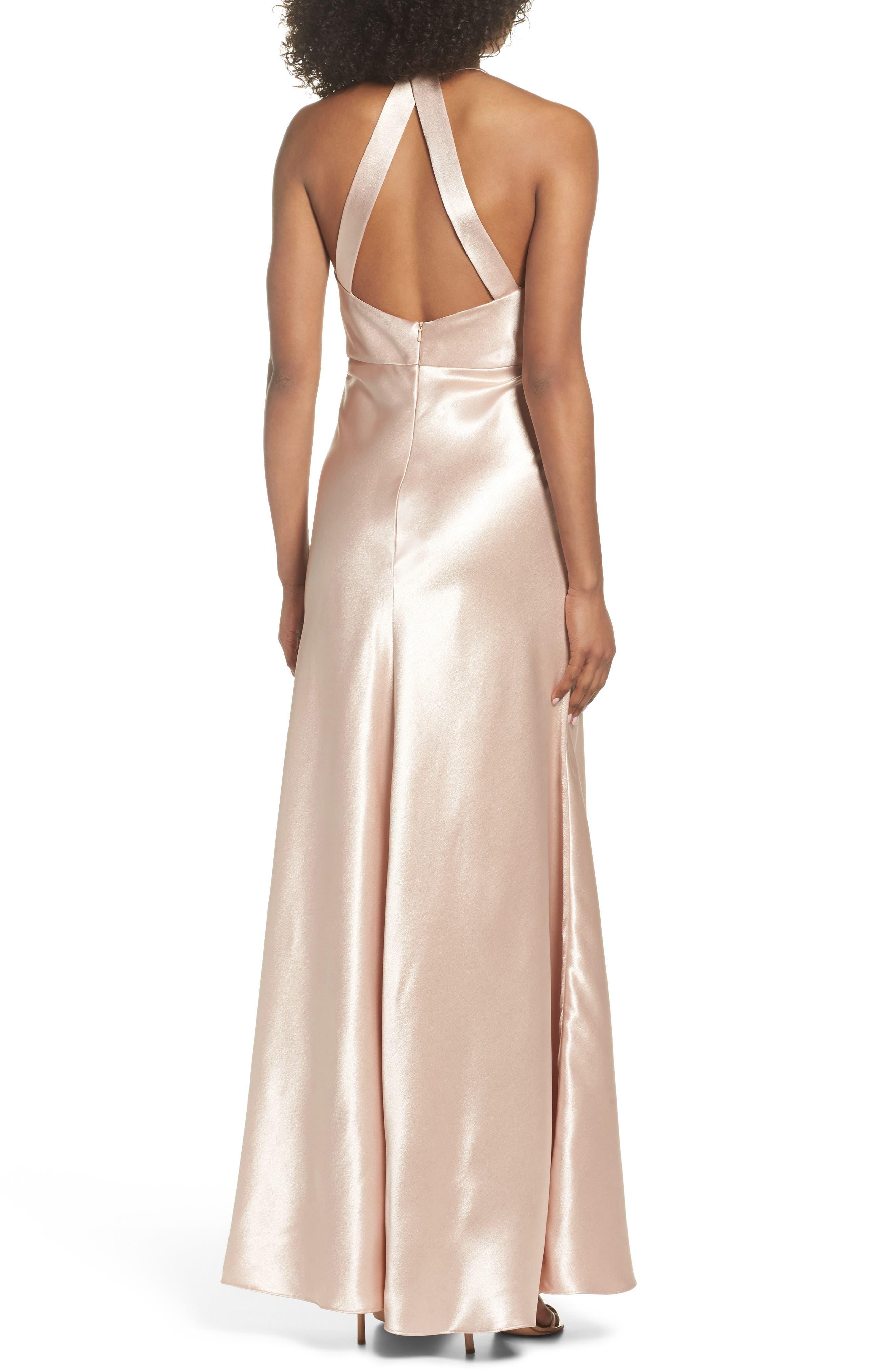 Corrine Satin Crepe Halter Gown,                             Alternate thumbnail 2, color,                             Petal