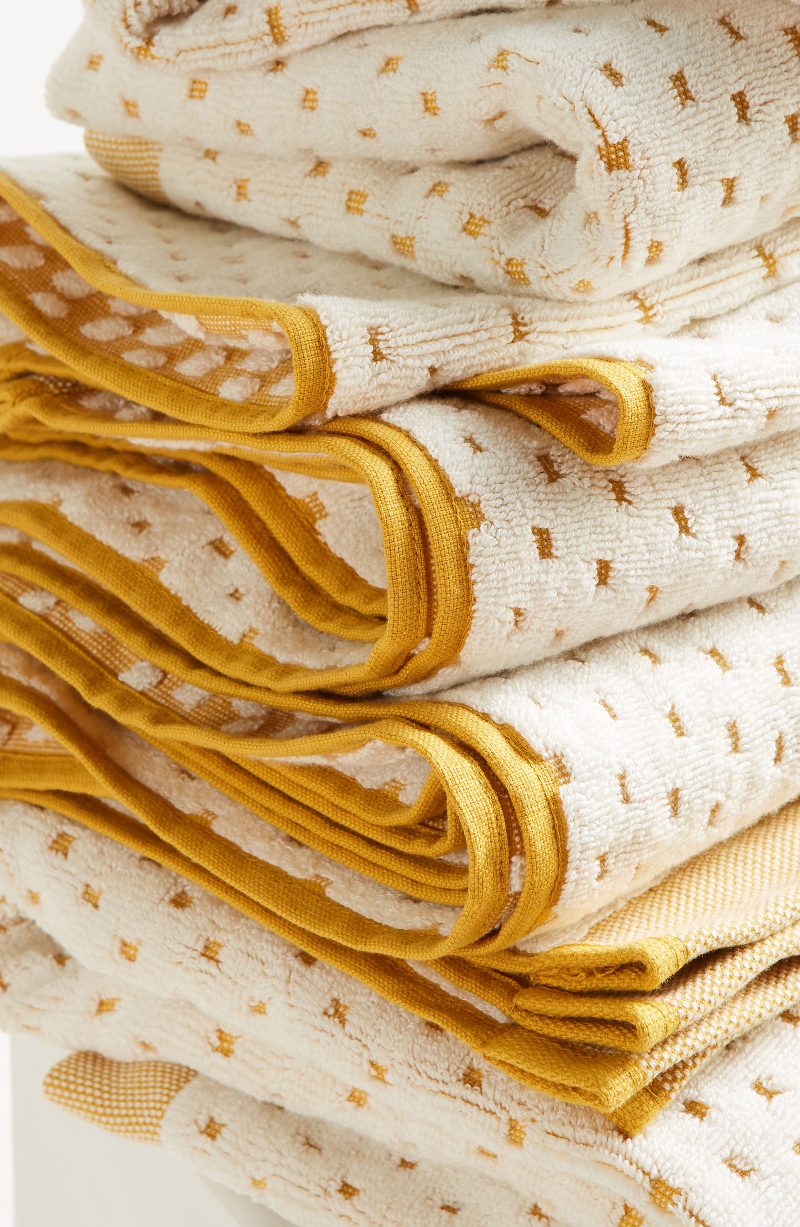 Dot Jacquard Bath Towel,                             Alternate thumbnail 2, color,                             Ochre