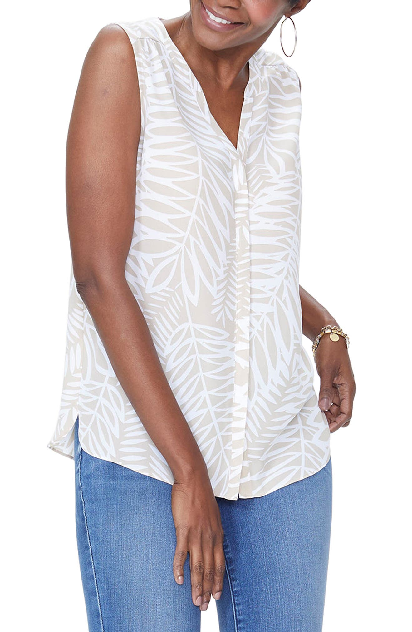 NYDJ Pleat Back Sleeveless Split Neck Blouse (Regular & Petite) (Nordstrom Exclusive)