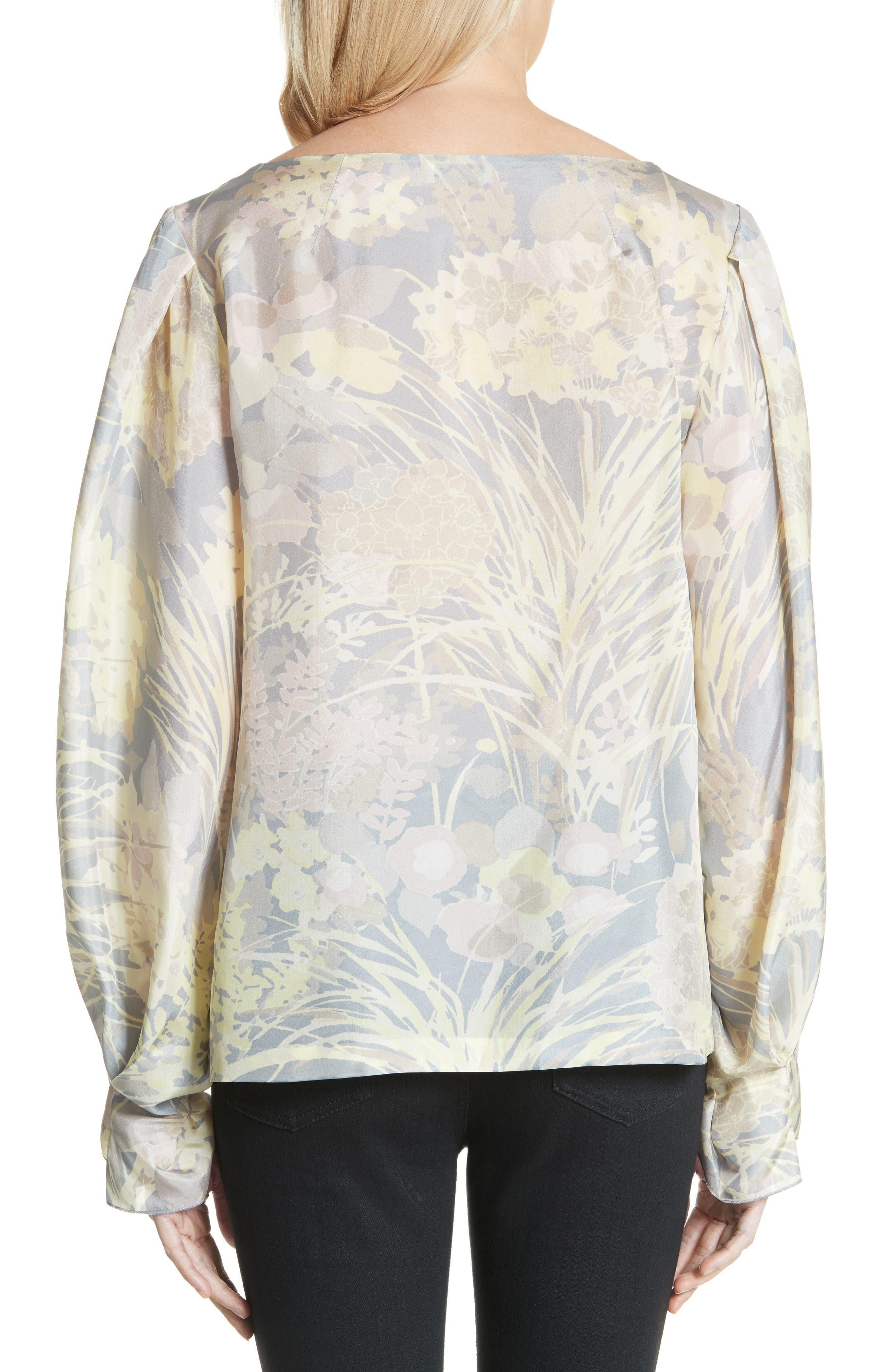 Floral Silk Blouse,                             Alternate thumbnail 2, color,                             Grey